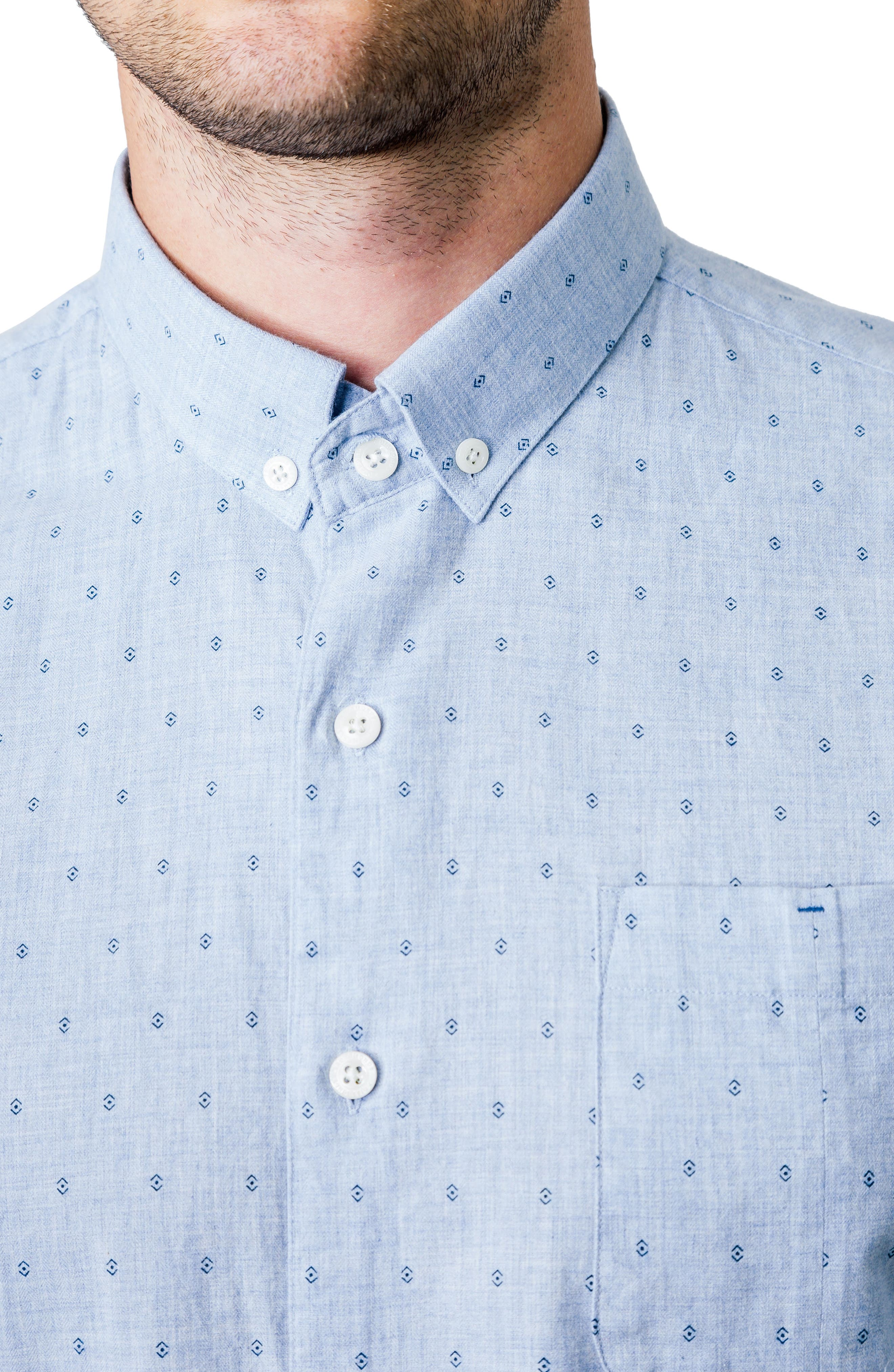 First Light Woven Shirt,                             Alternate thumbnail 4, color,                             Light Blue