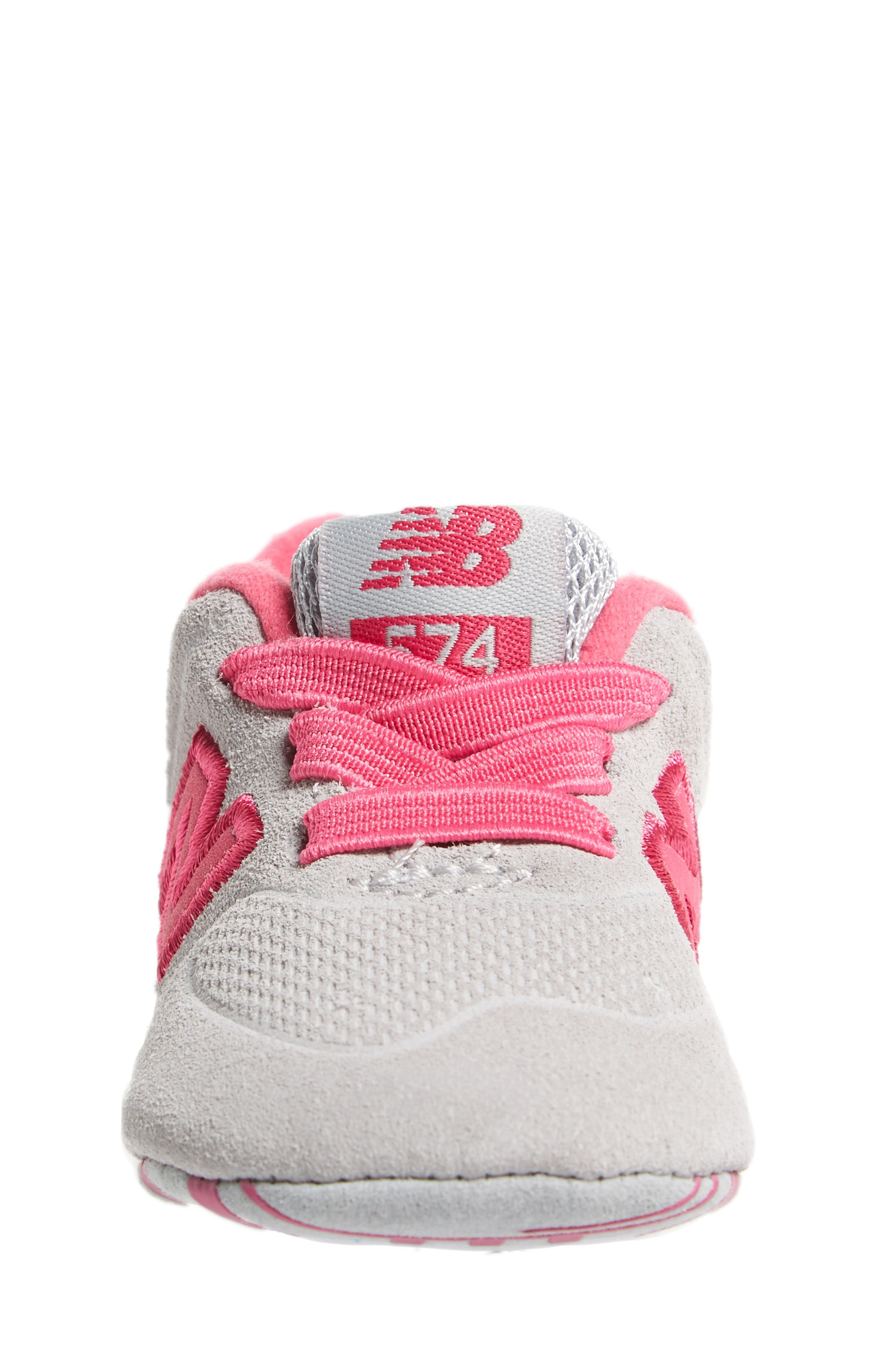 574 Crib Shoe,                             Alternate thumbnail 4, color,                             Pink/ Grey