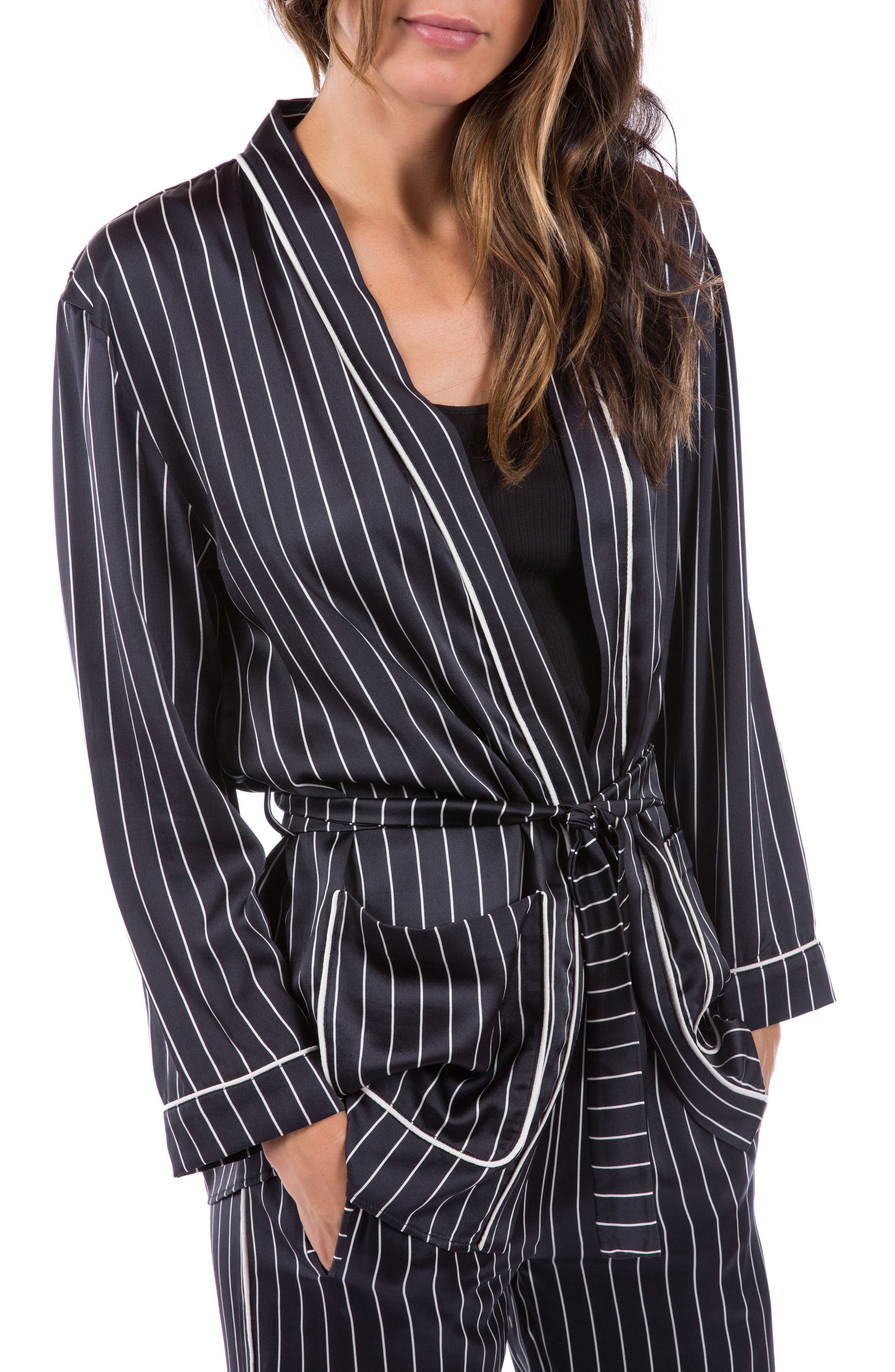 Alternate Image 4  - Ragdoll Pinstripe Silk Pajama Top