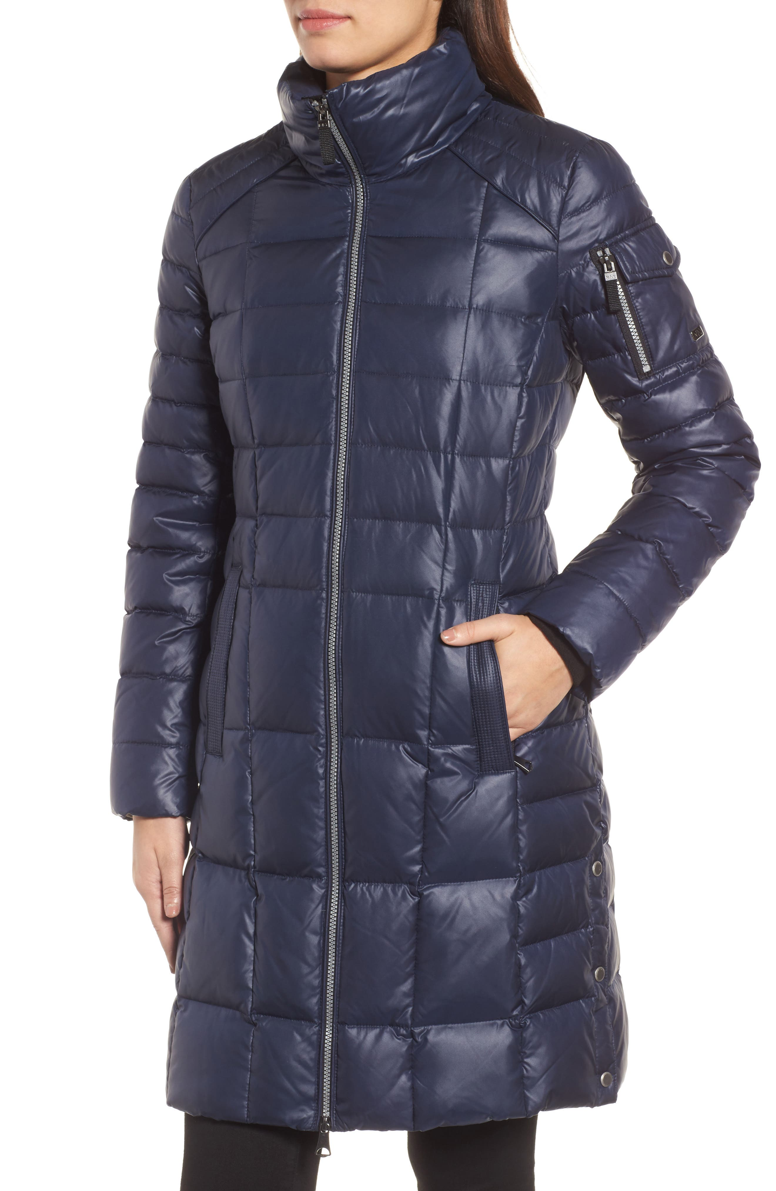 Quilted Coat with Genuine Coyote Fur,                             Alternate thumbnail 4, color,                             Navy