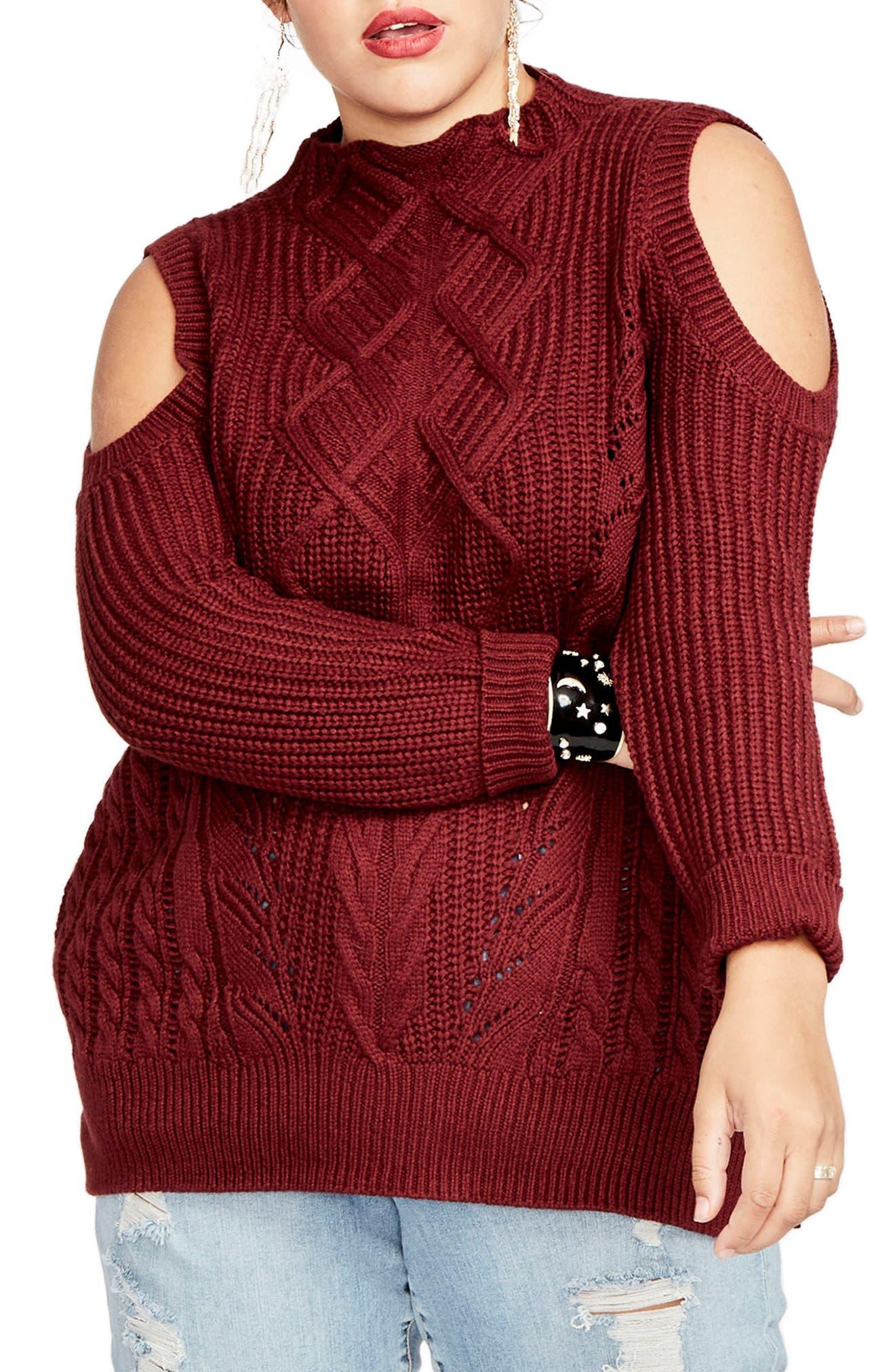 RACHEL Rachel Roy Cold Shoulder Cable Sweater (Plus Size)