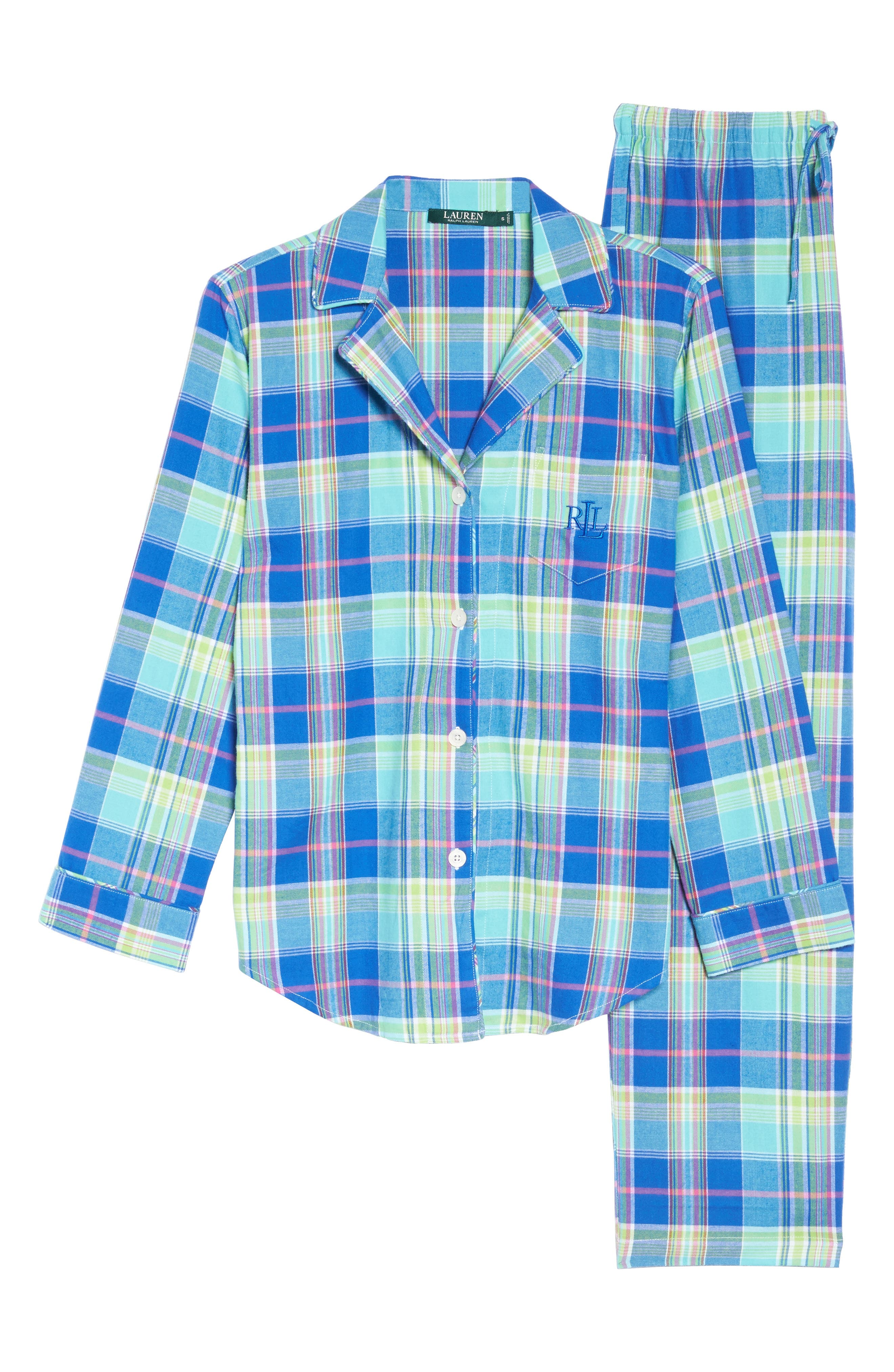 Notch Collar Pajamas,                             Alternate thumbnail 6, color,                             Turquoise Multi Plaid