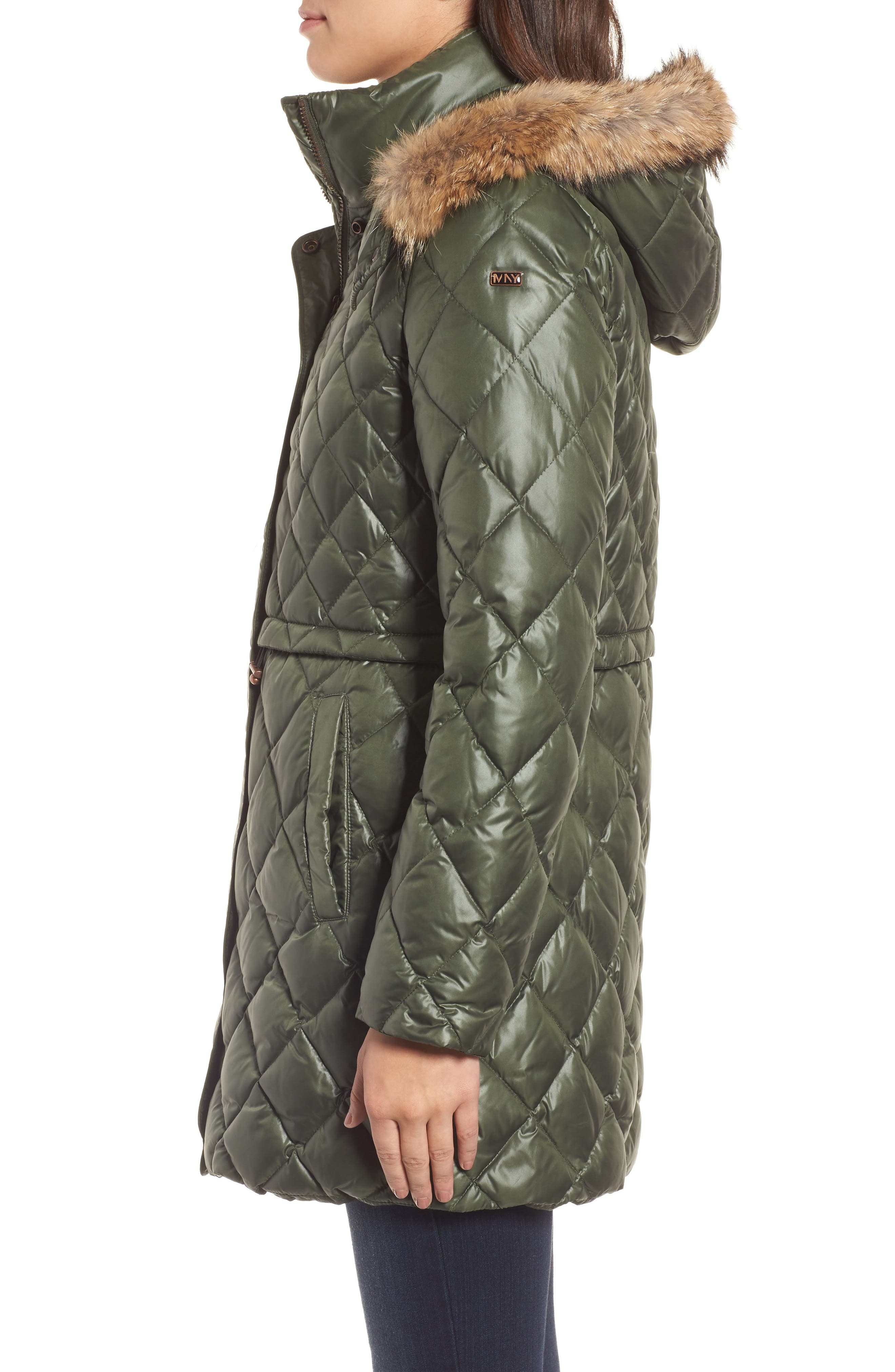 Quilted Anorak with Genuine Coyote Fur,                             Alternate thumbnail 3, color,                             Olive