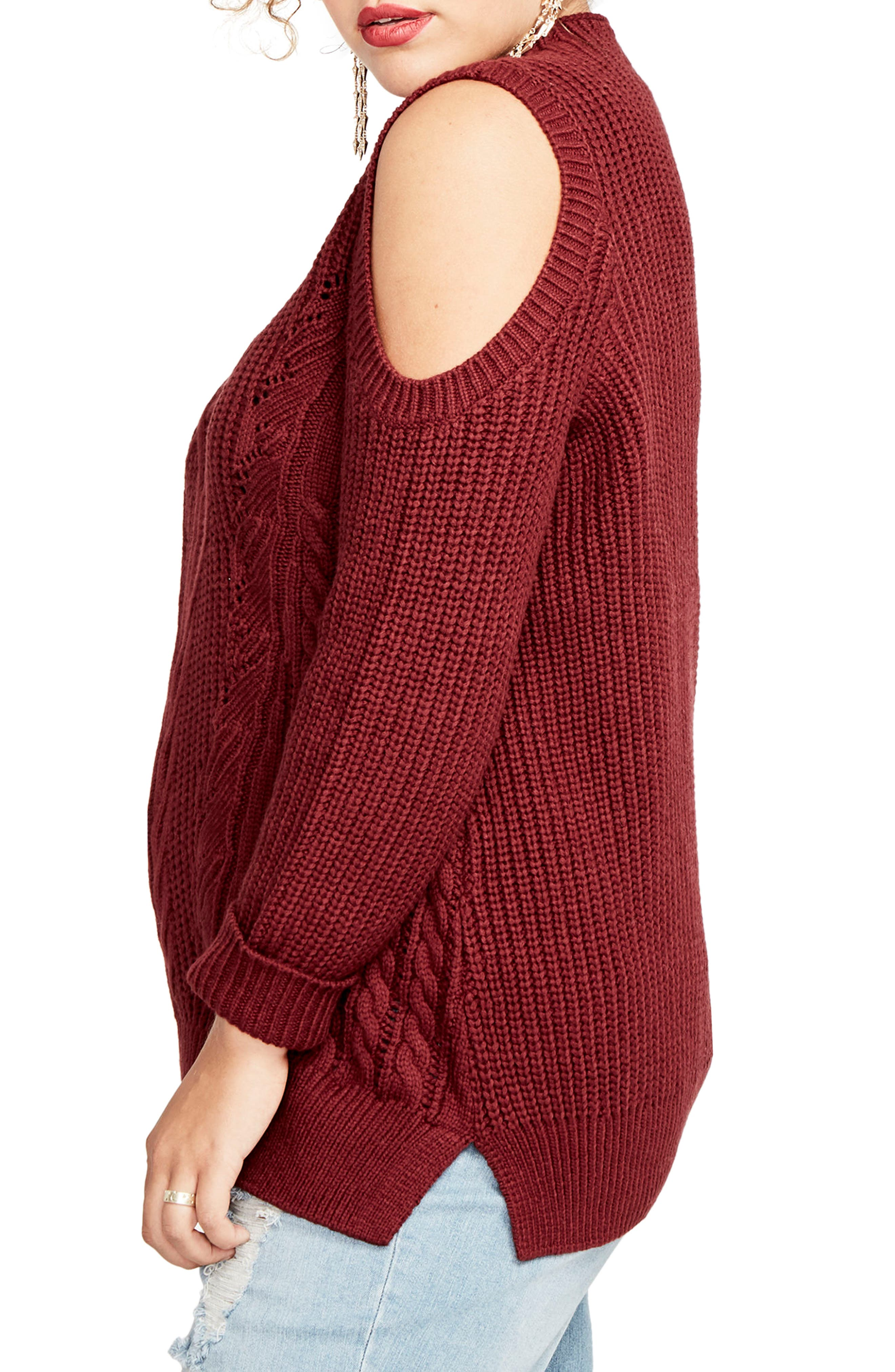 Cold Shoulder Cable Sweater,                             Alternate thumbnail 3, color,                             Port