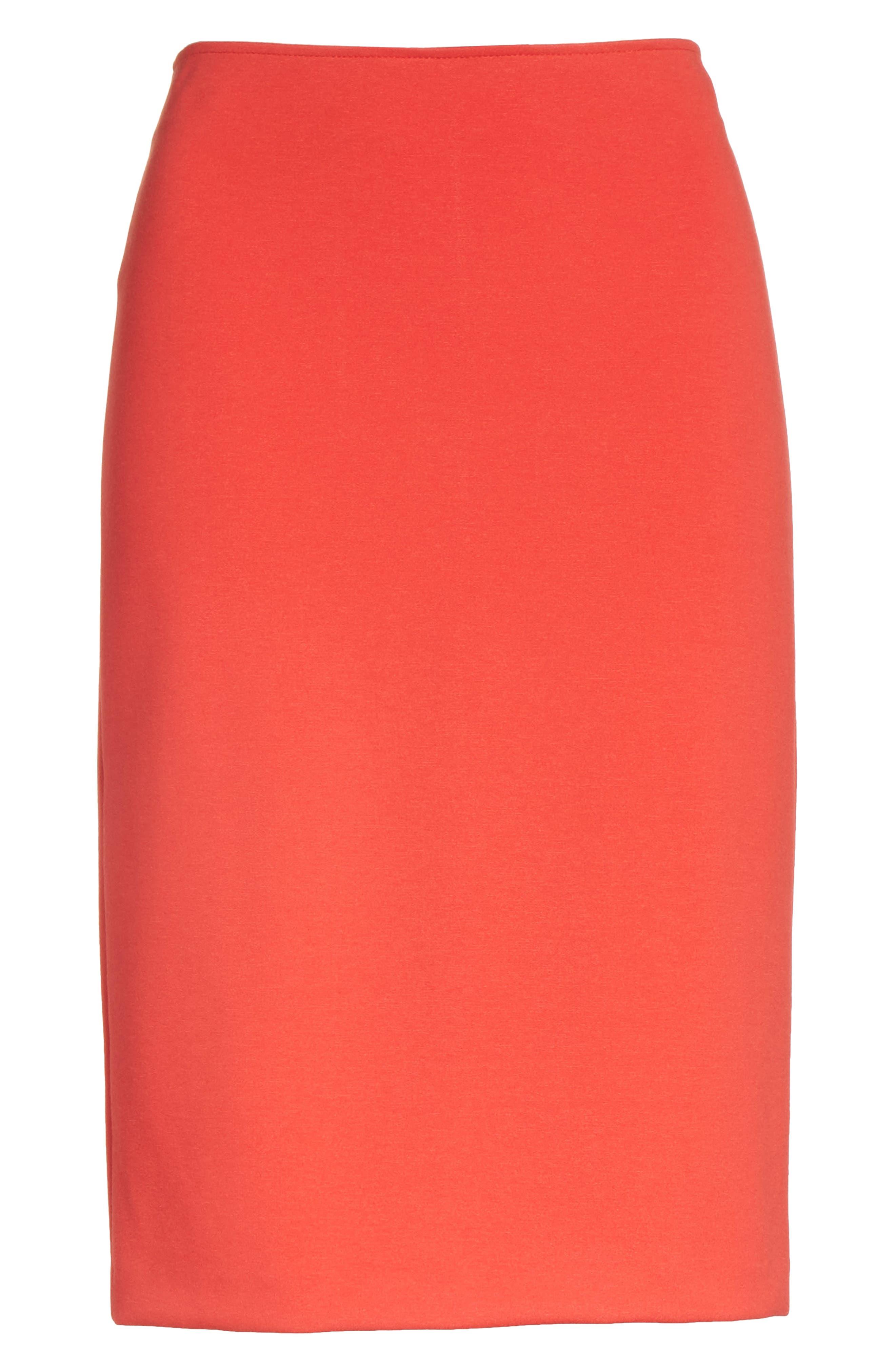 Milano Jersey Pencil Skirt,                             Alternate thumbnail 7, color,                             Solid Bright Orange