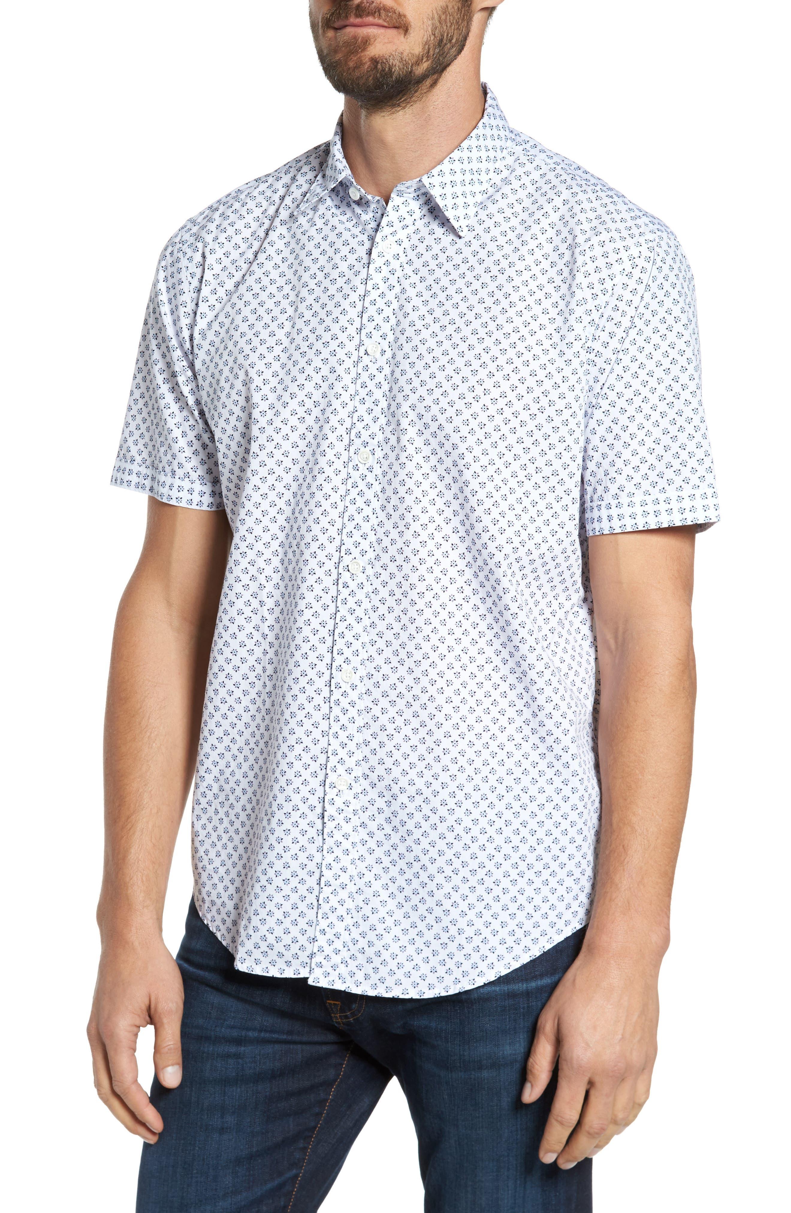 Santo Regular Fit Print Sport Shirt,                         Main,                         color, White