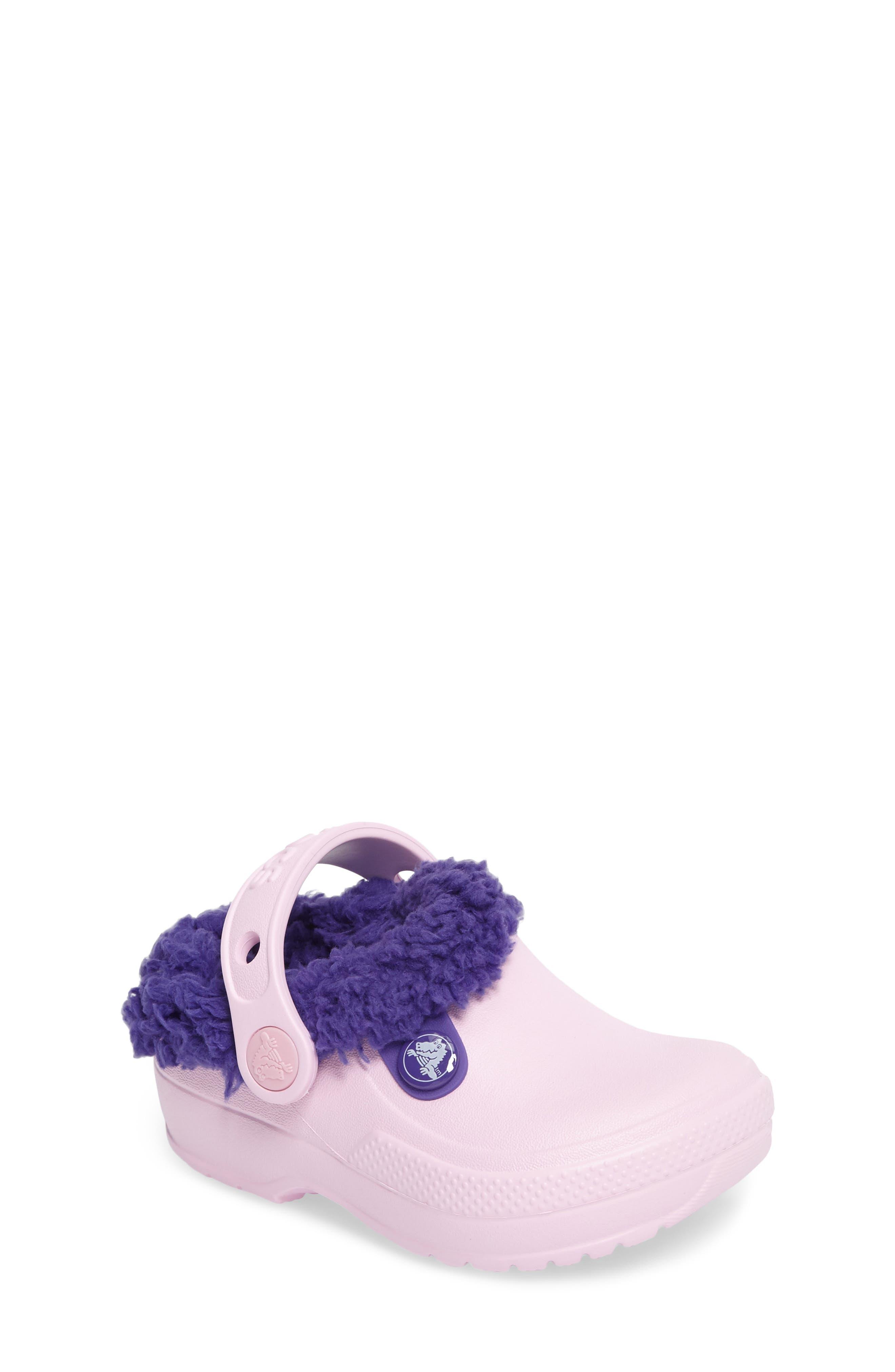 Alternate Image 1 Selected - CROCS™ Classic Blitzen III Faux Fur Clog (Walker, Toddler & Little Kid)