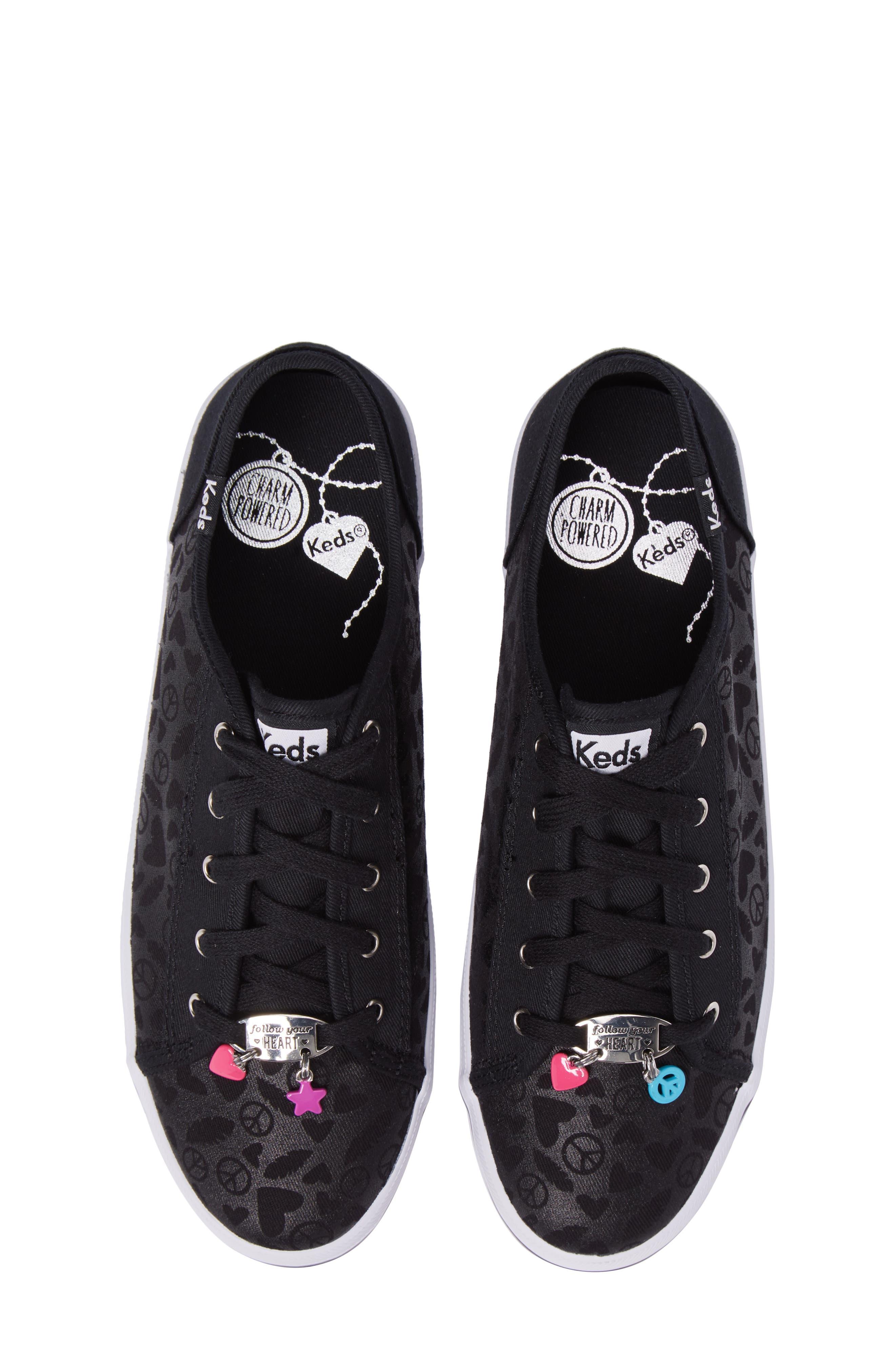 Kickstart Charm Sneaker,                             Alternate thumbnail 5, color,                             Black