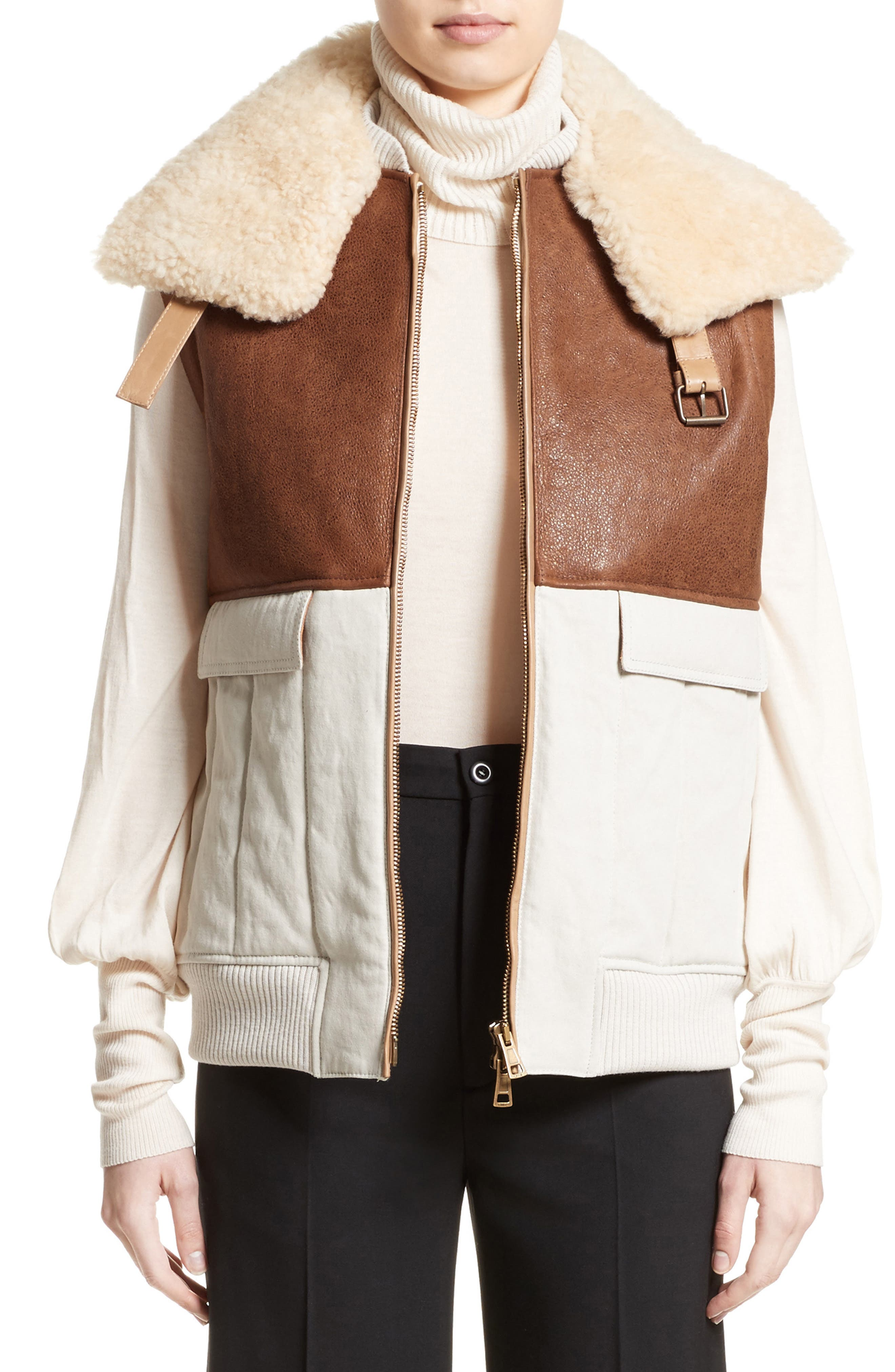 Genuine Shearling Trim Leather & Cotton Vest,                         Main,                         color, Brown/ Beige