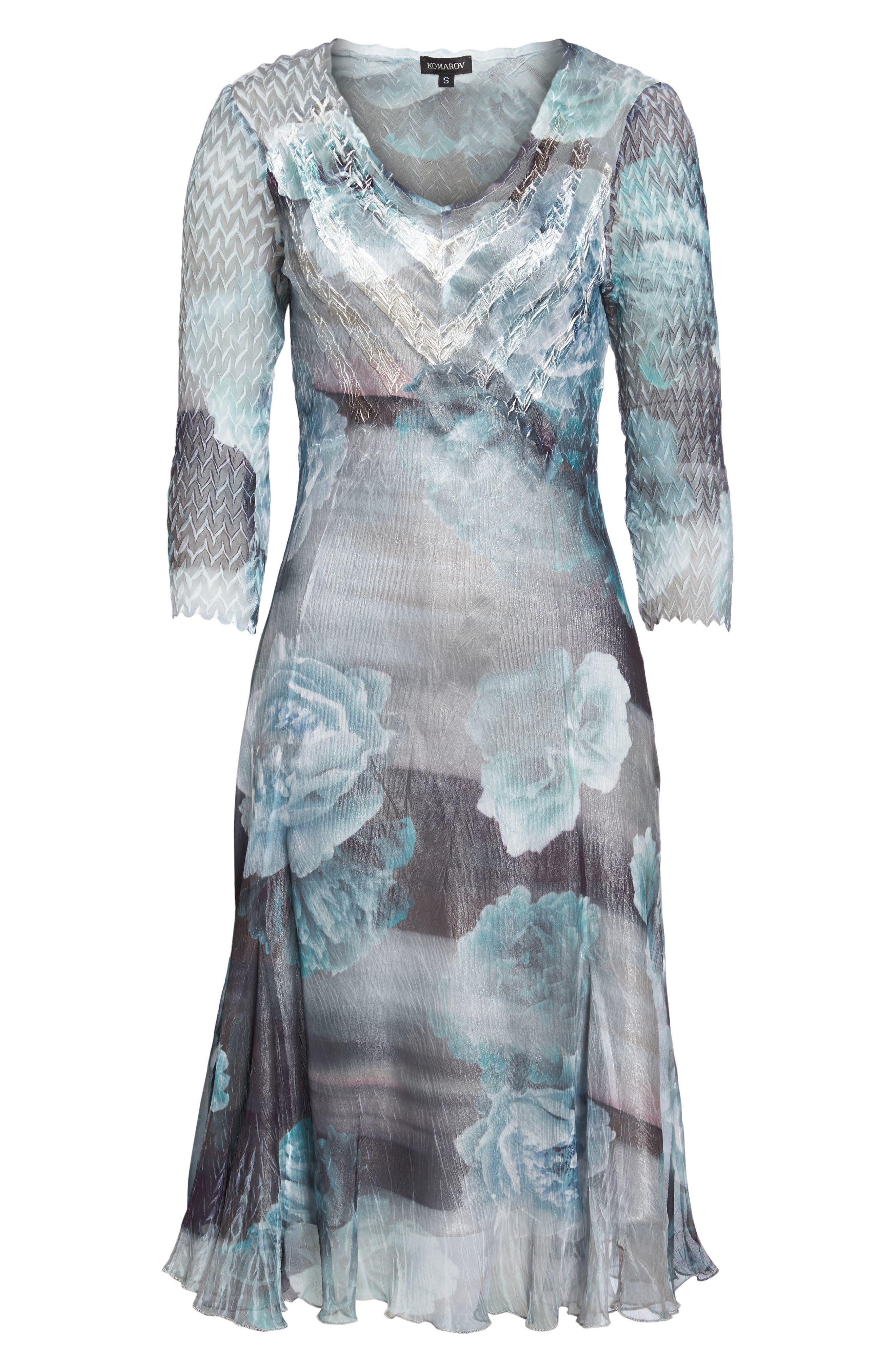 Floral A-Line Chiffon Dress,                             Alternate thumbnail 6, color,                             Jade Mist