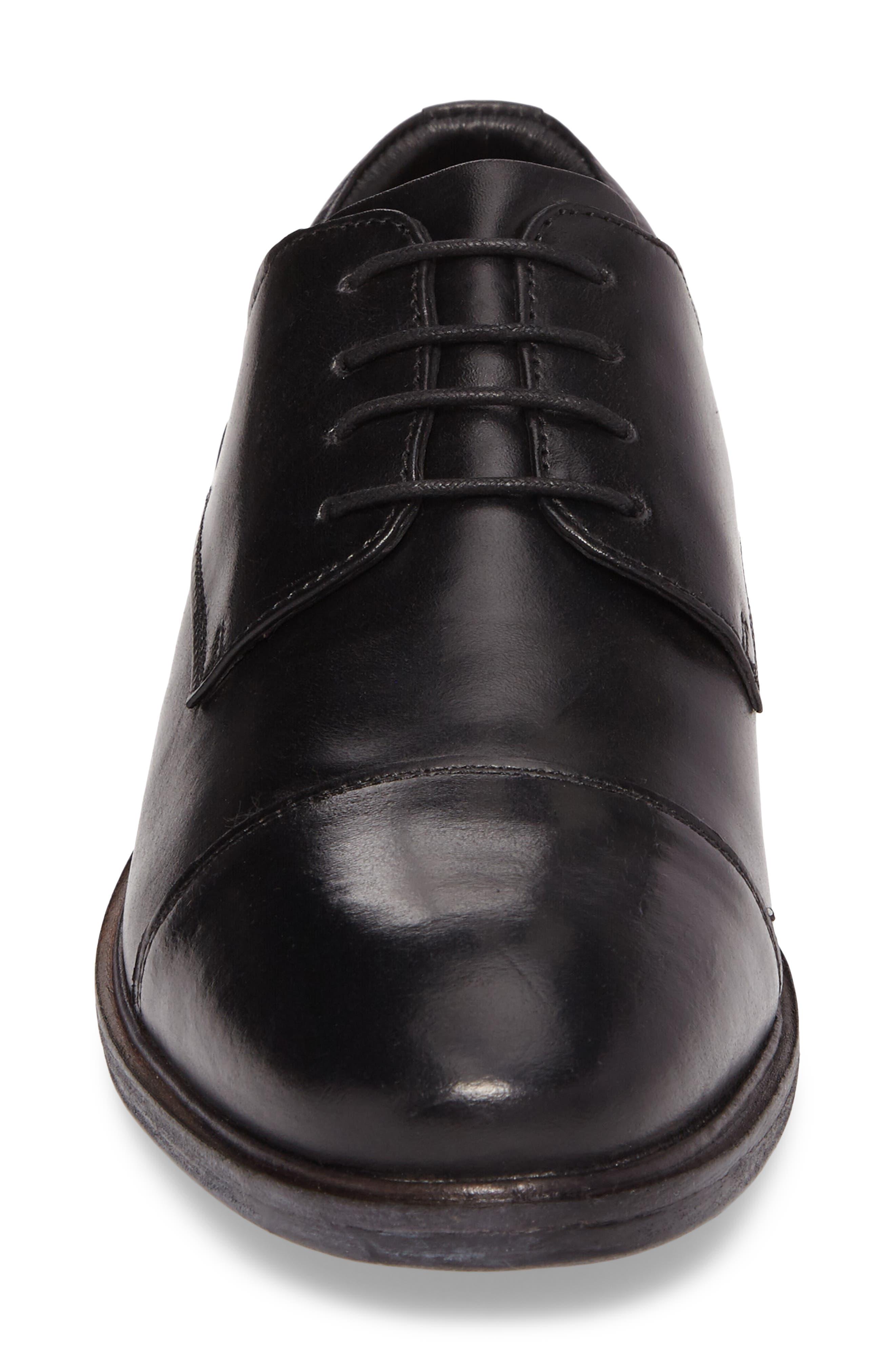 Myles 19 Water Repellent Cap Toe Derby,                             Alternate thumbnail 4, color,                             Black
