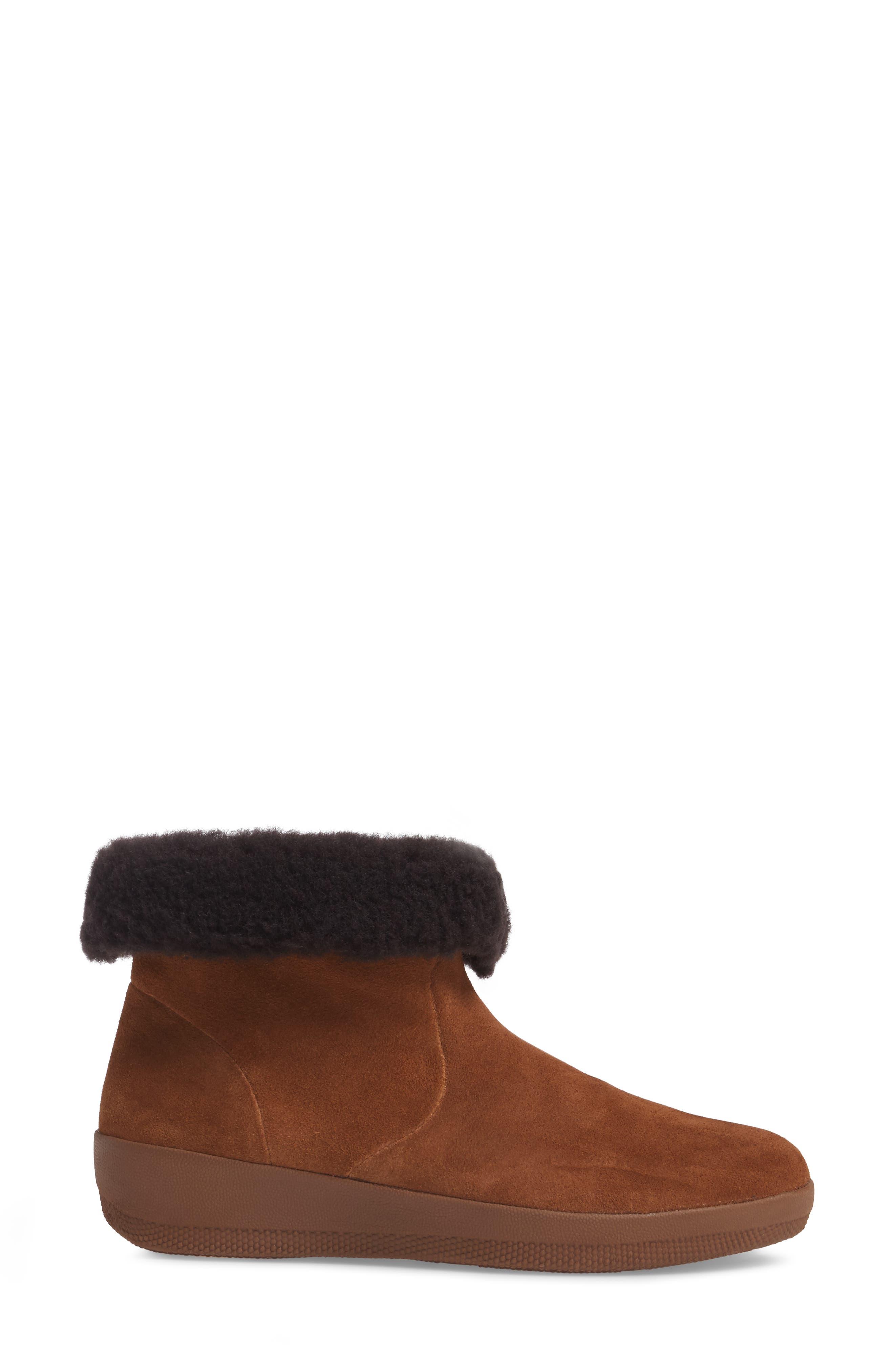 Skate Genuine Shearling Cuff Boot,                             Alternate thumbnail 3, color,                             Chestnut
