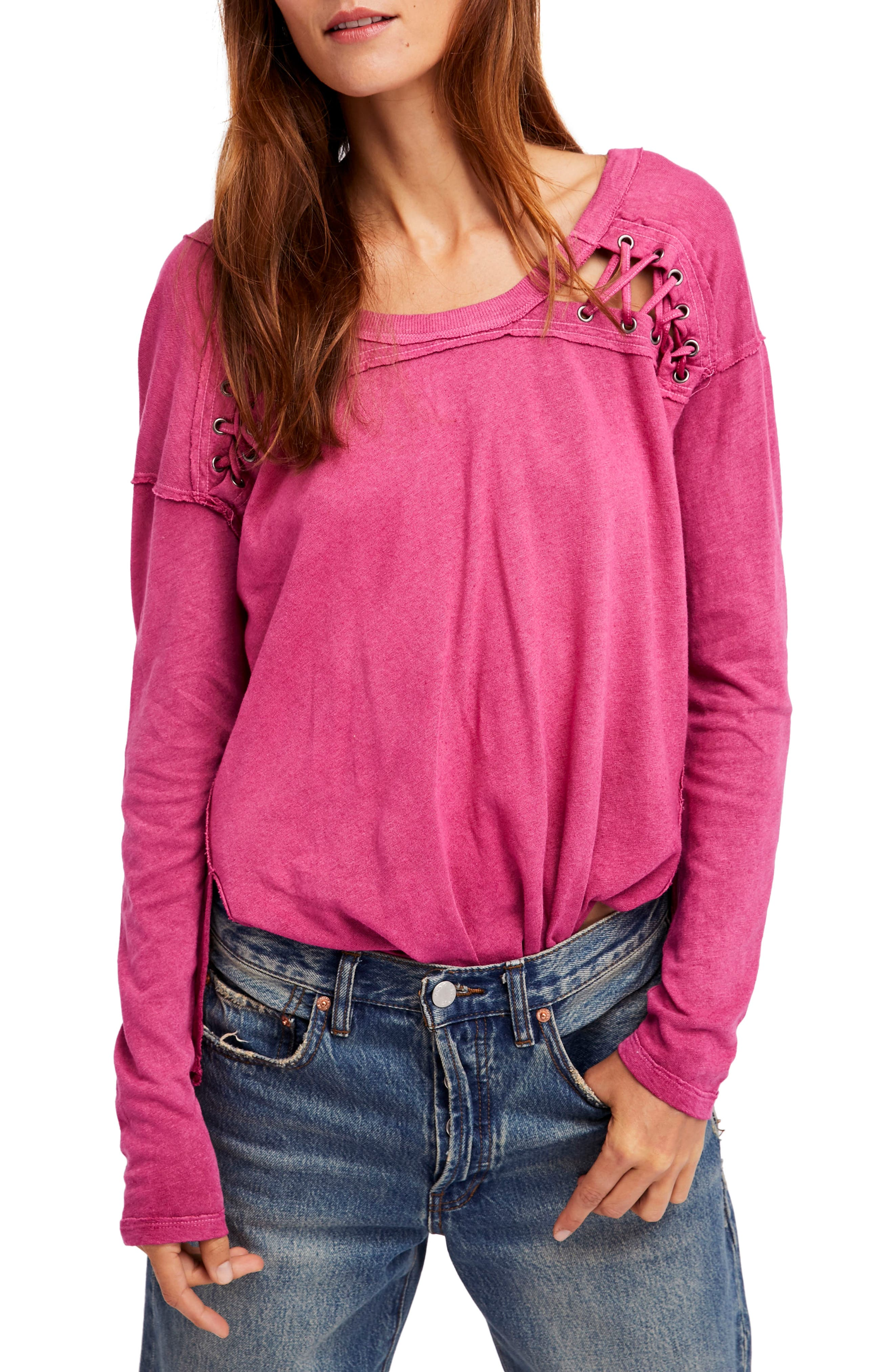 Alternate Image 1 Selected - Free People First Love Lace-Up Tee