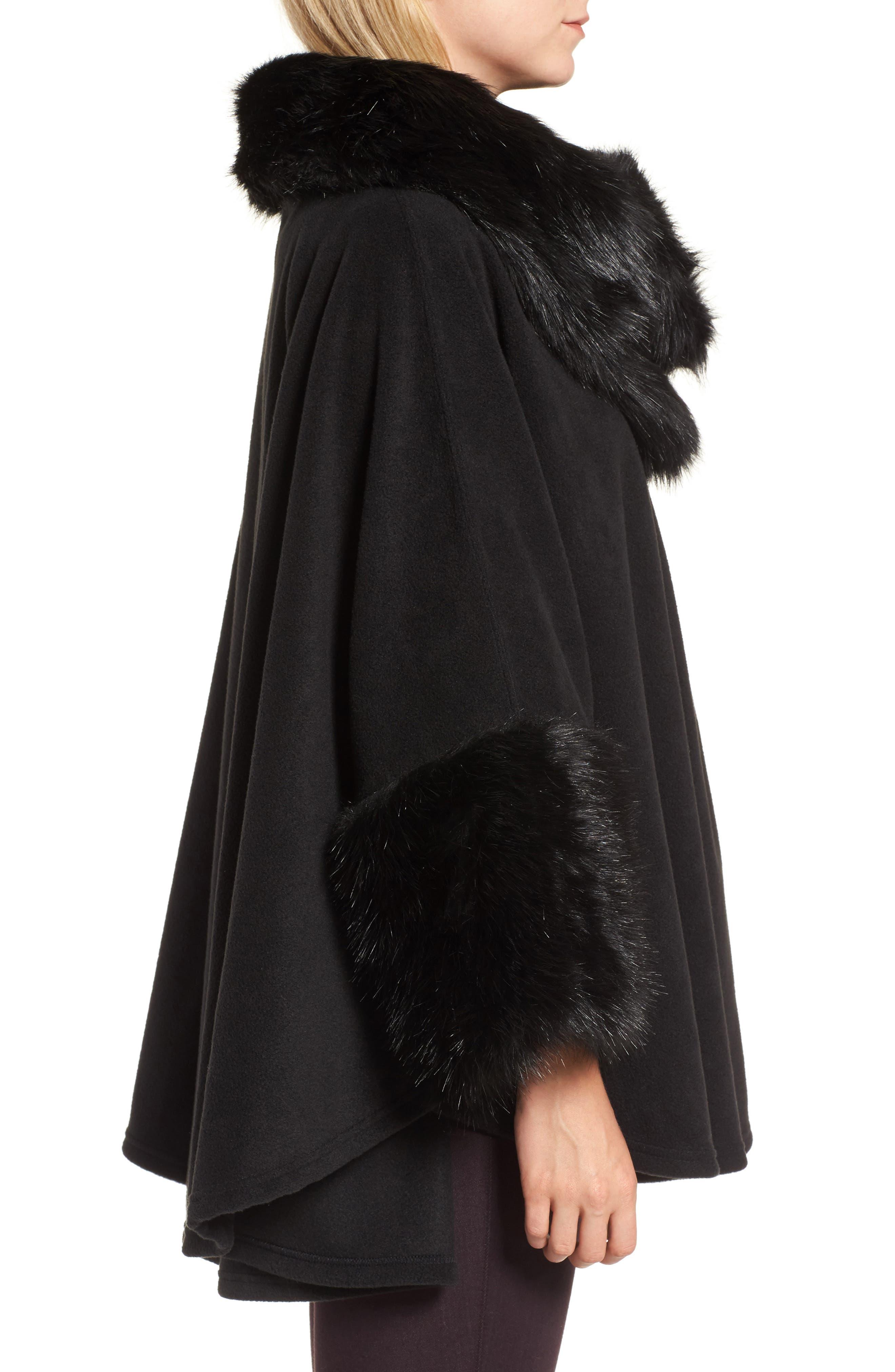 Chelsea Cape with Faux Fur Trim,                             Alternate thumbnail 3, color,                             Black/ Black Mink