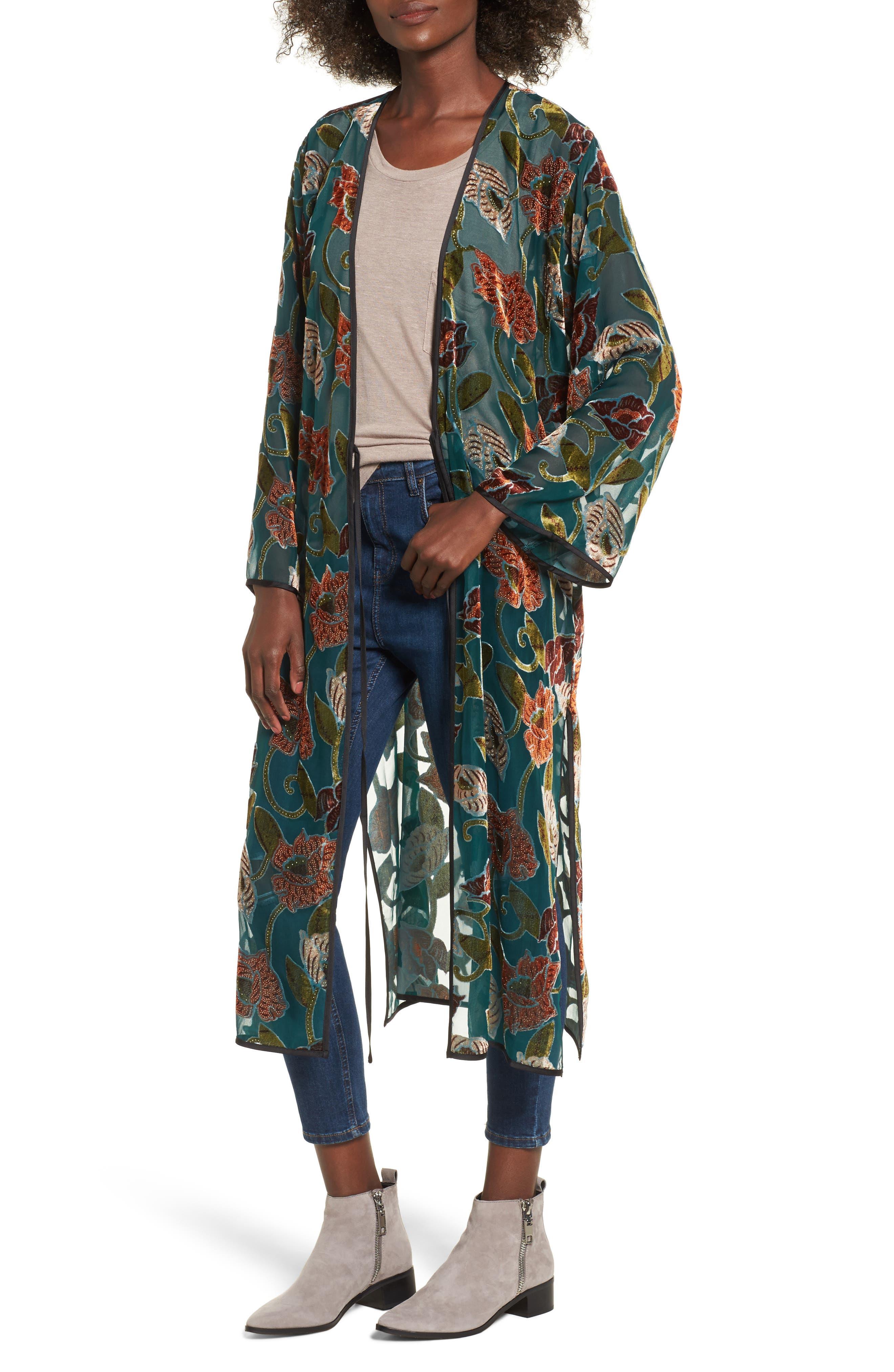 Velvet Burnout Kimono,                         Main,                         color, Teal/ Rust