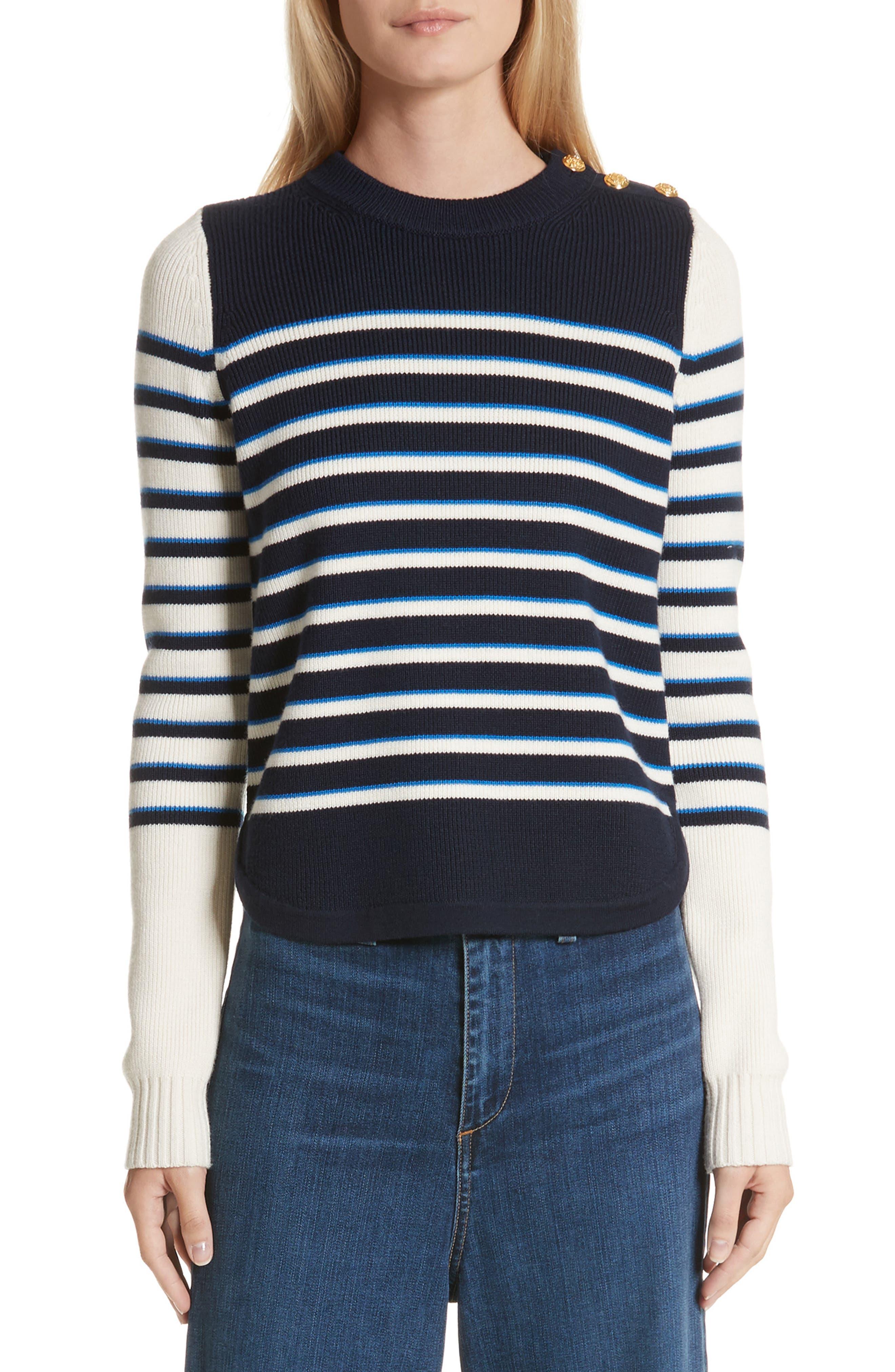 Amos Stripe Merino Wool Sweater,                             Main thumbnail 1, color,                             Navy/ Ivory/ Blue