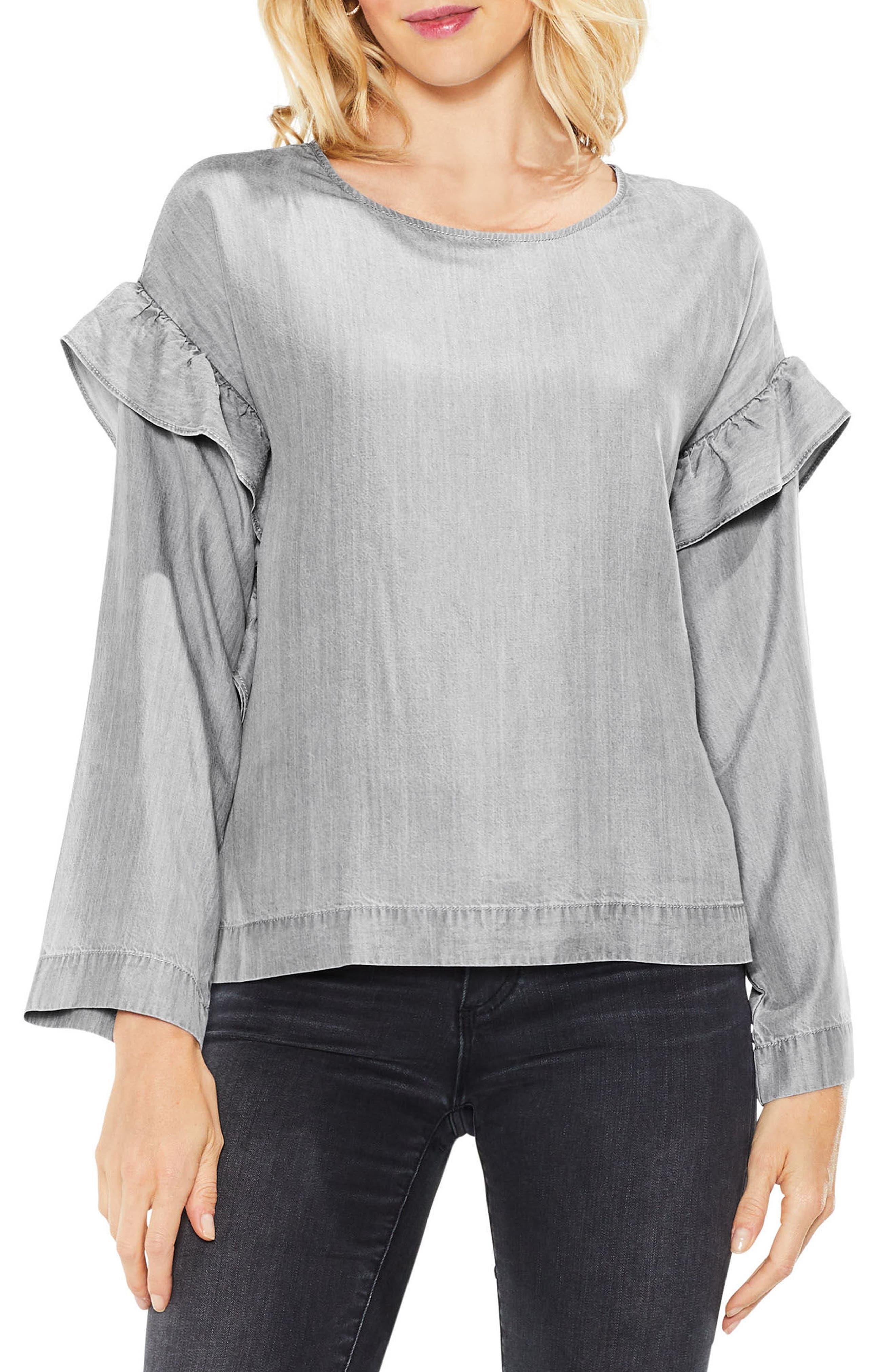 Ruffle Shoulder Shirt,                         Main,                         color, Grey Skies