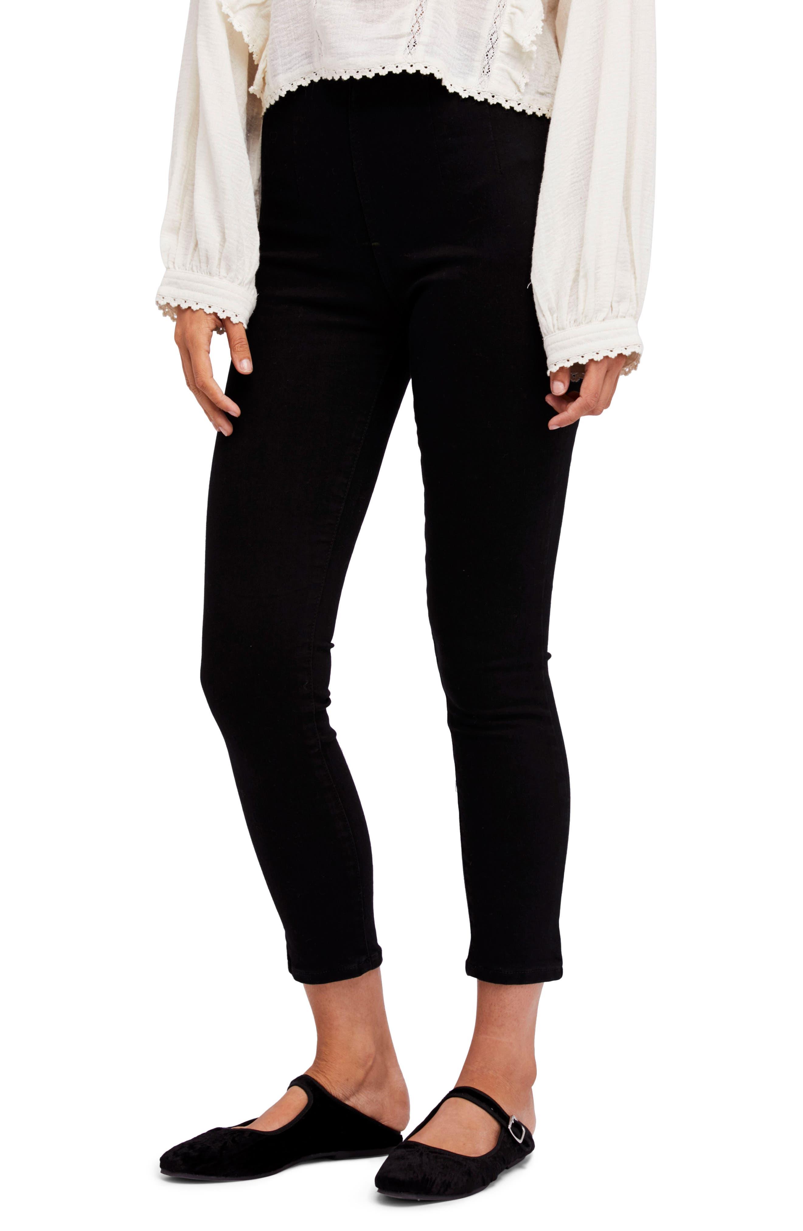 High Waist Ankle Skinny Pants,                             Main thumbnail 1, color,                             Black