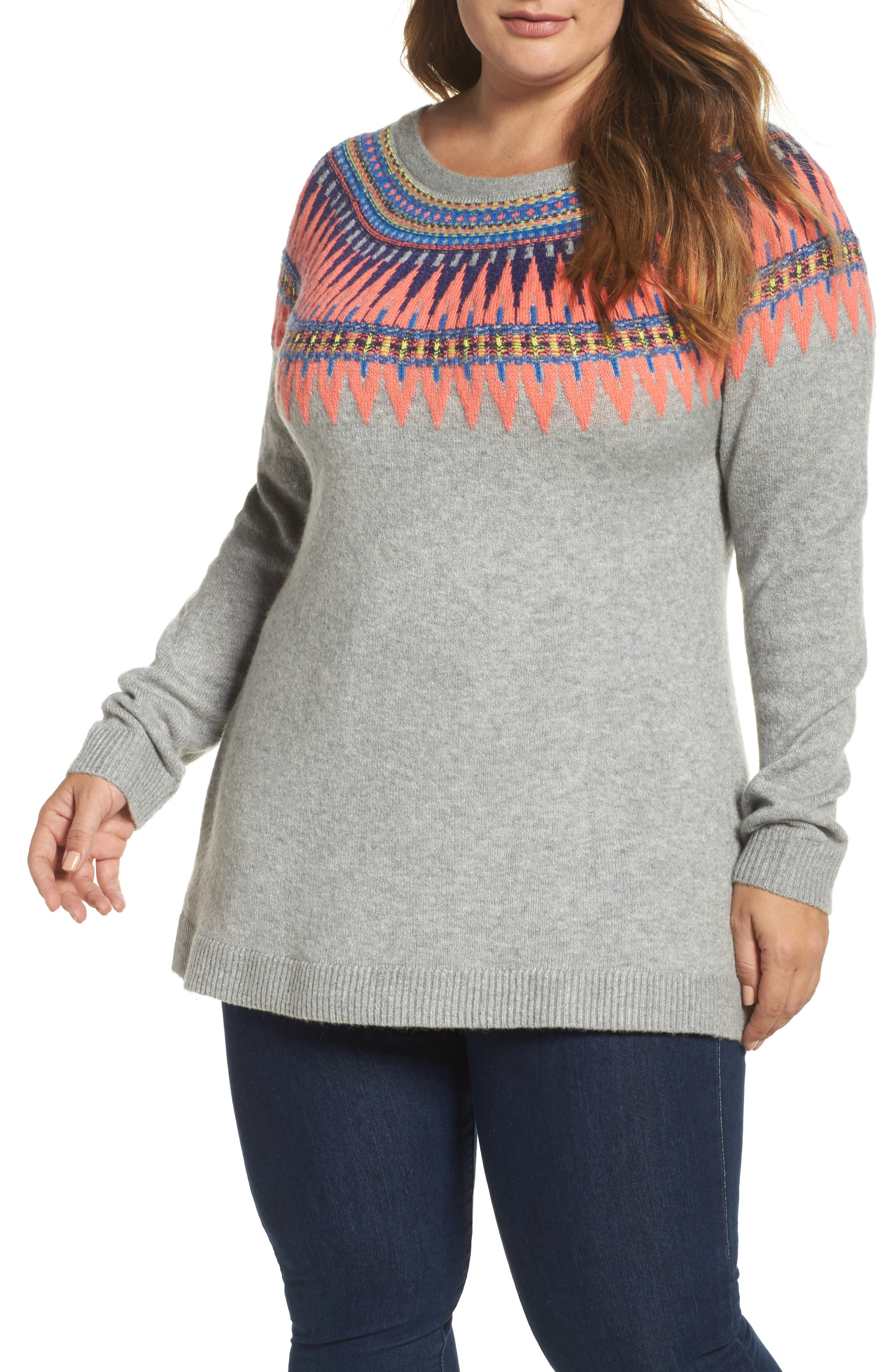 Tie Back Patterned Sweater,                             Main thumbnail 1, color,                             Grey- Pink Pattern