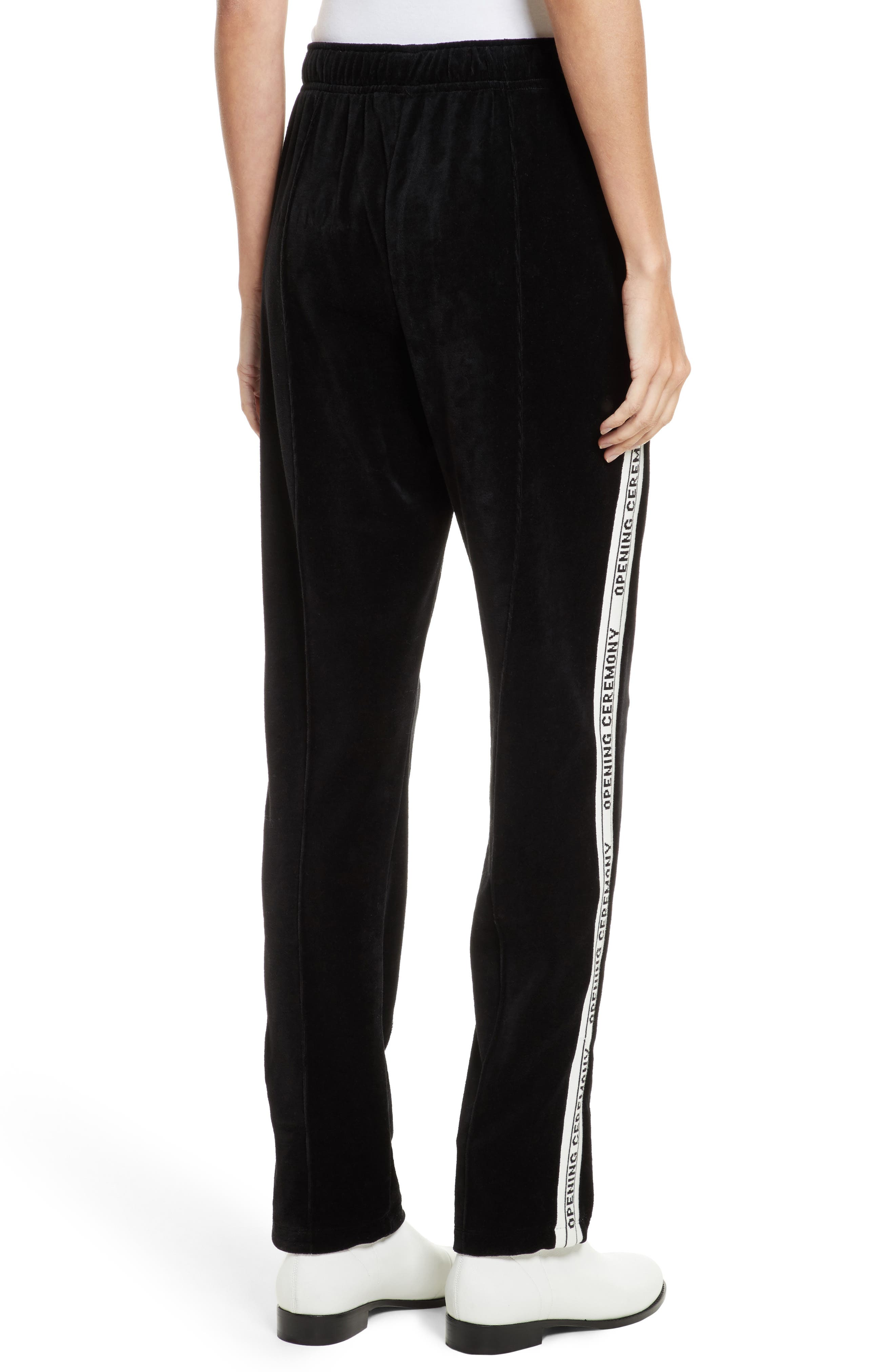 Logo Tape Velour Track Pants,                             Alternate thumbnail 2, color,                             Black