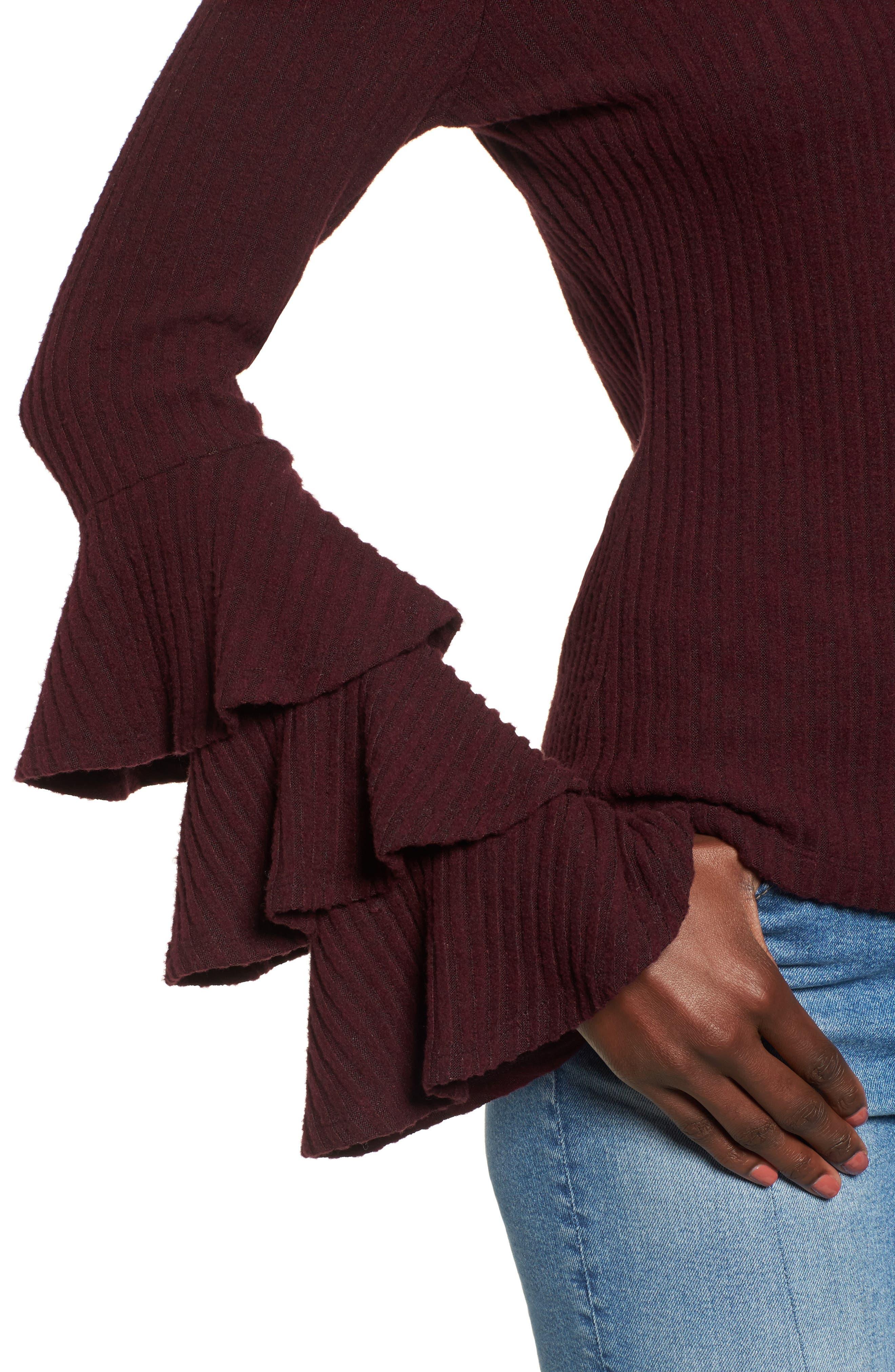 Marie Ruffle Sleeve Top,                             Alternate thumbnail 4, color,                             Burgundy