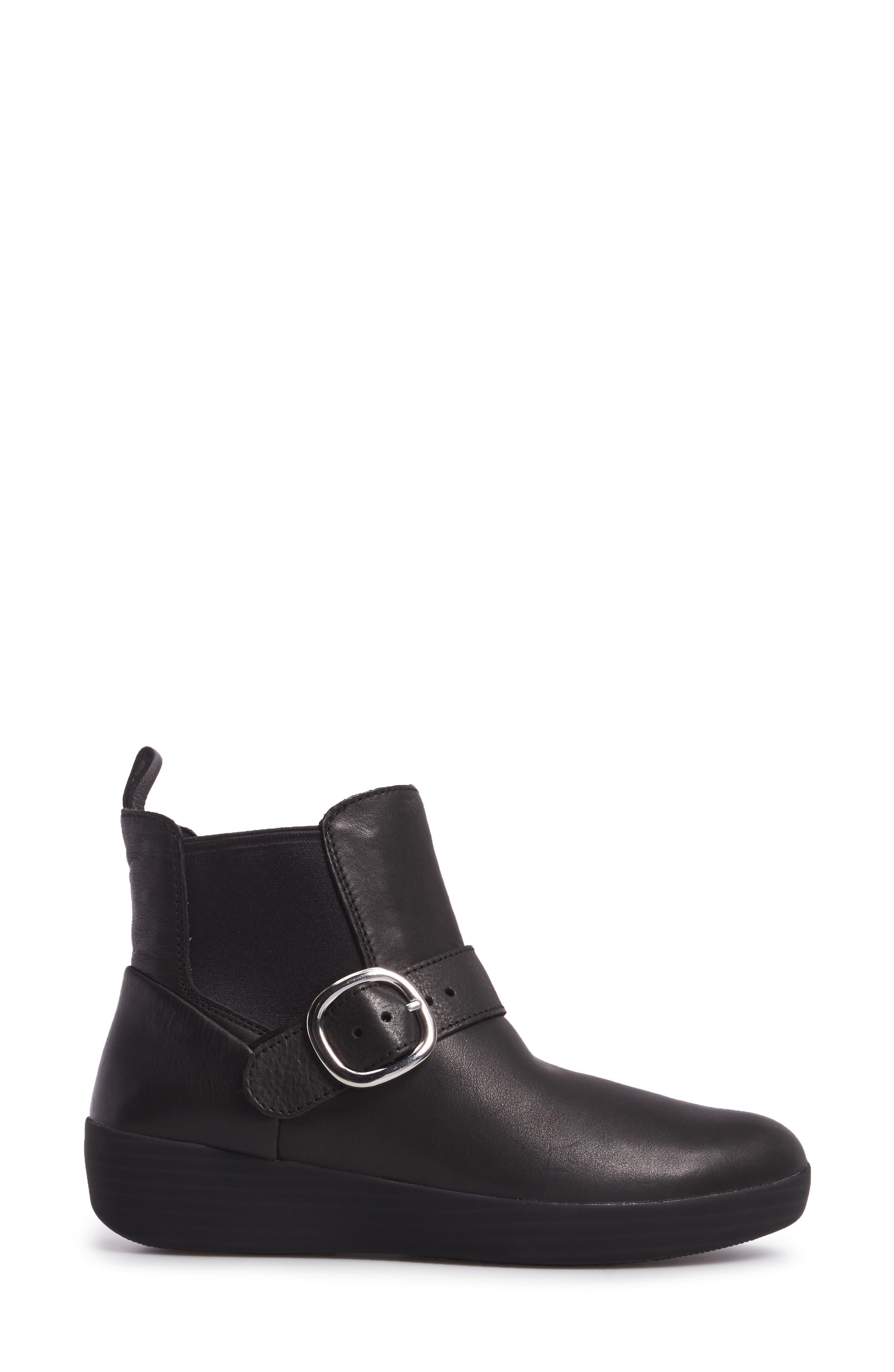 Superbuckle Chelsea Boot,                             Alternate thumbnail 3, color,                             Black