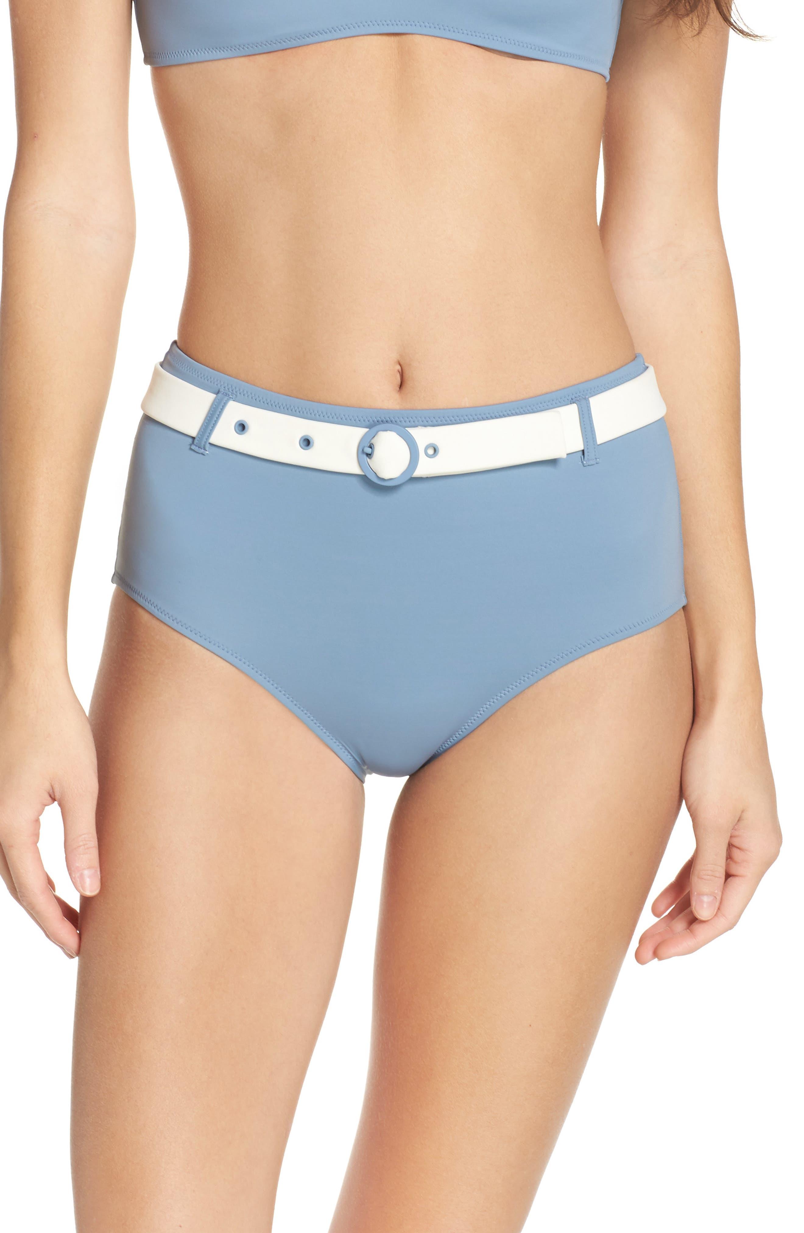 The Quinn Belted High Waist Bikini Bottoms,                         Main,                         color, Ice