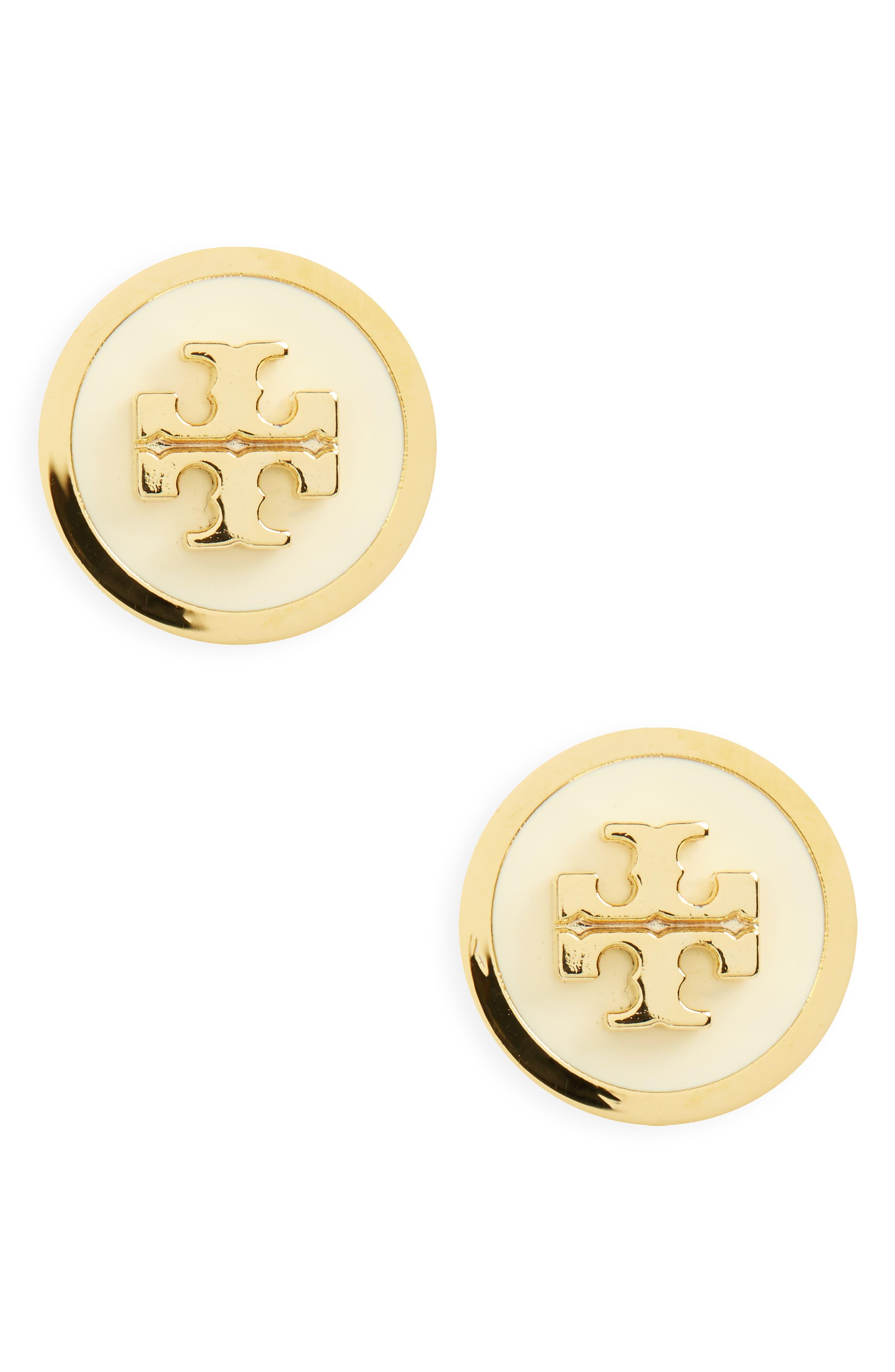 Logo Stud Earrings,                             Main thumbnail 1, color,                             New Ivory / Tory Gold
