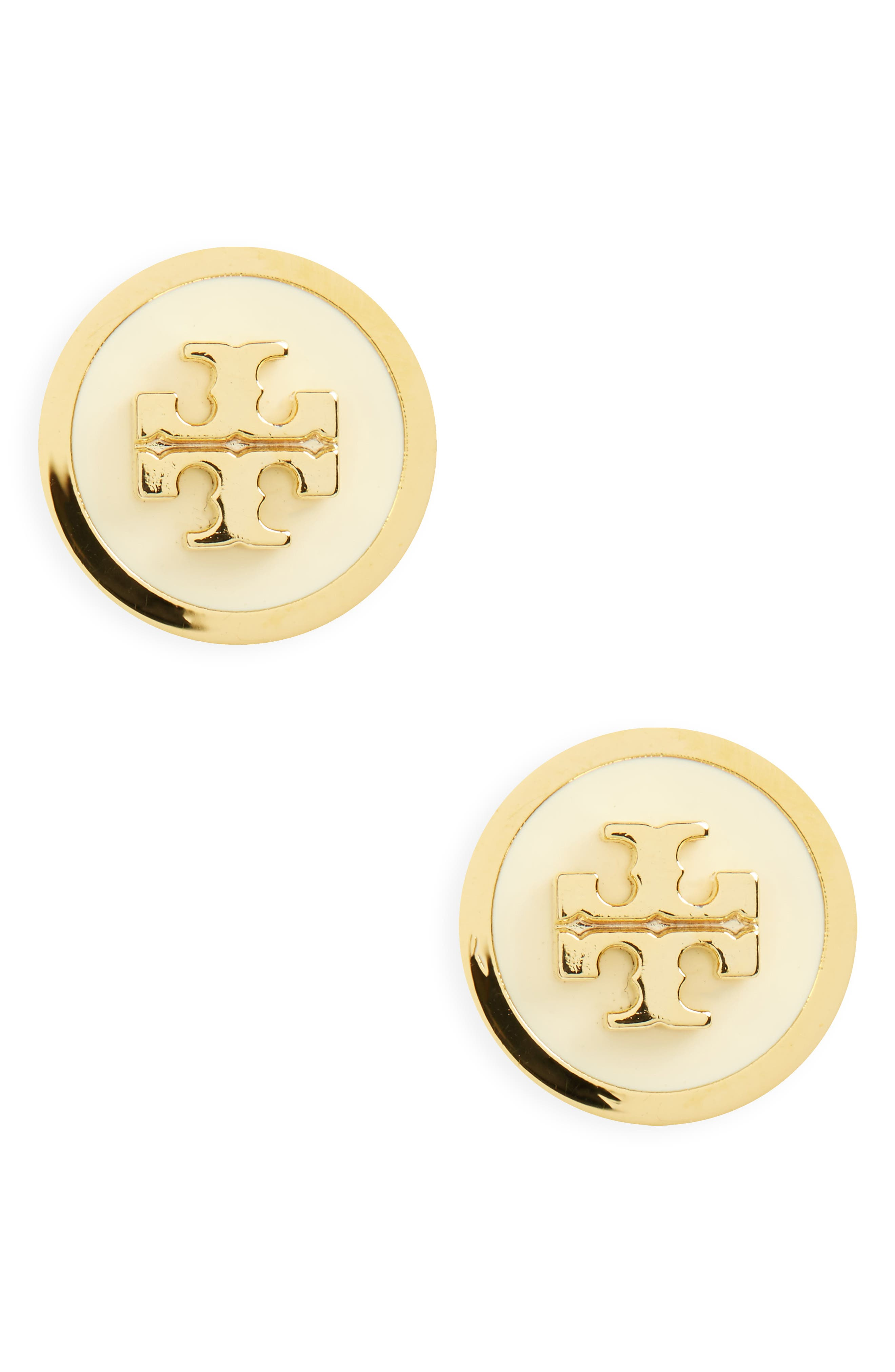 Logo Stud Earrings,                         Main,                         color, New Ivory / Tory Gold