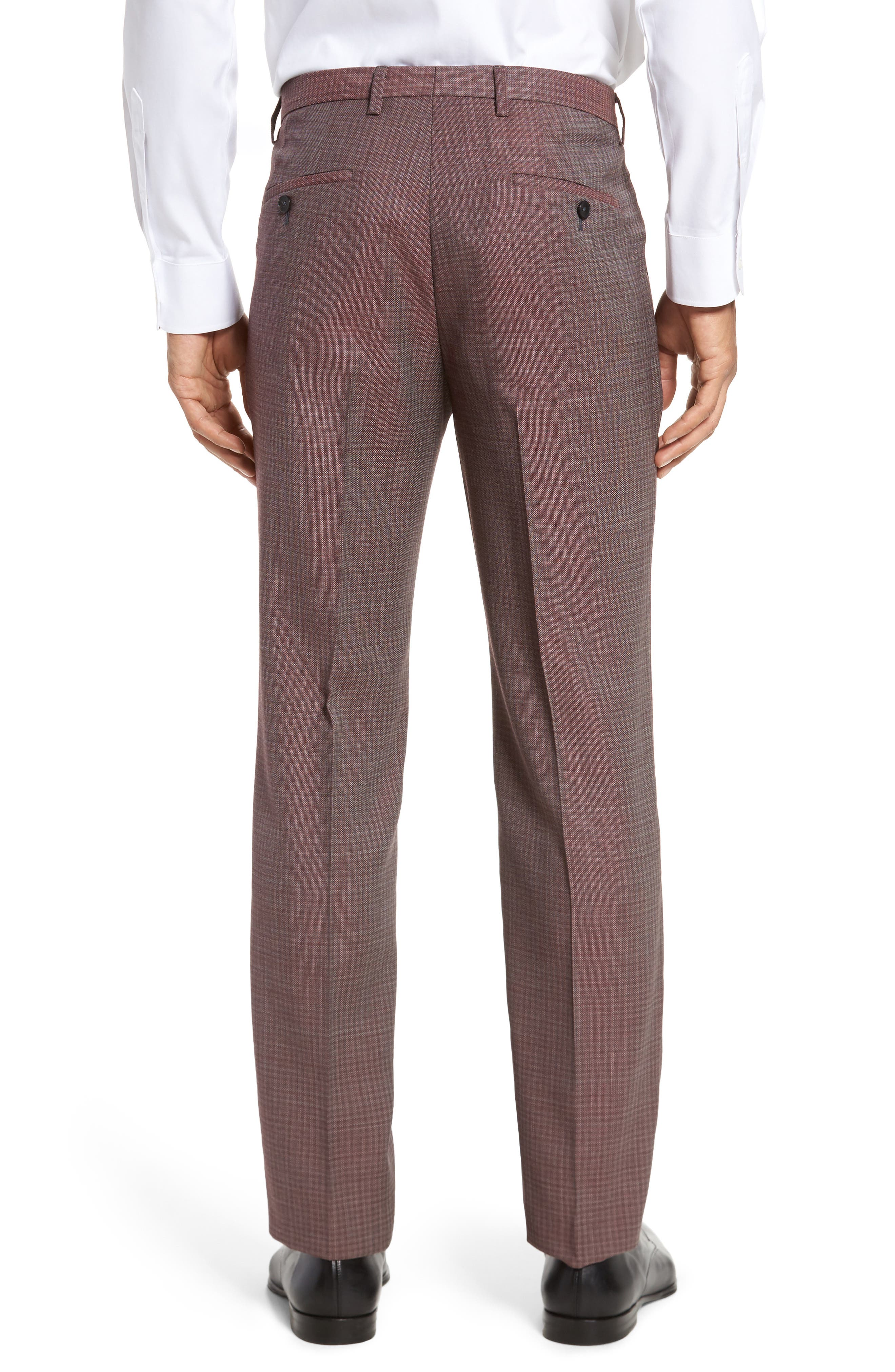 Leenon Flat Front Regular Fit Check Wool Trousers,                             Alternate thumbnail 2, color,                             Medium Red