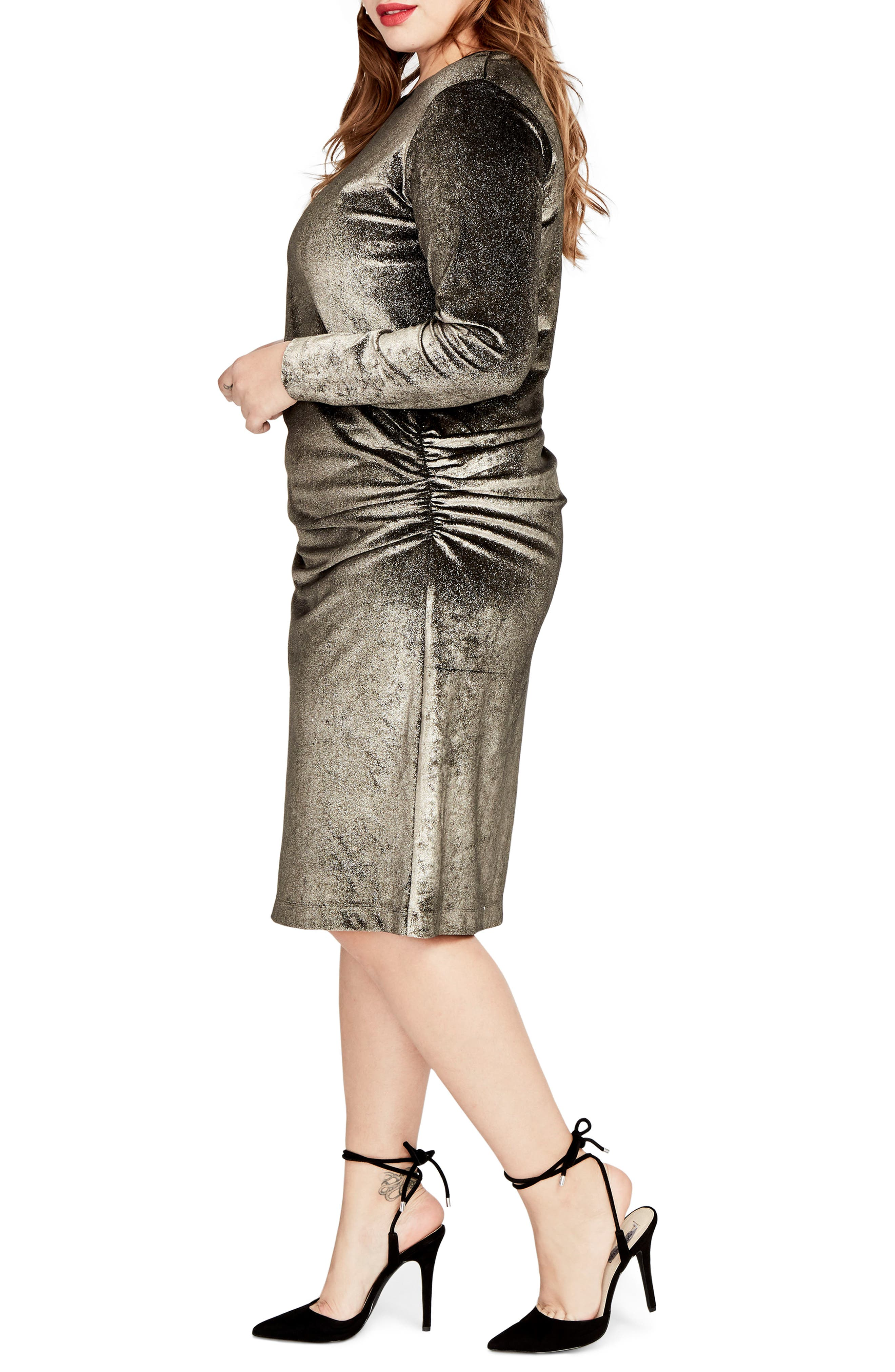 Draped Metallic Sheath Dress,                             Alternate thumbnail 3, color,                             Gold