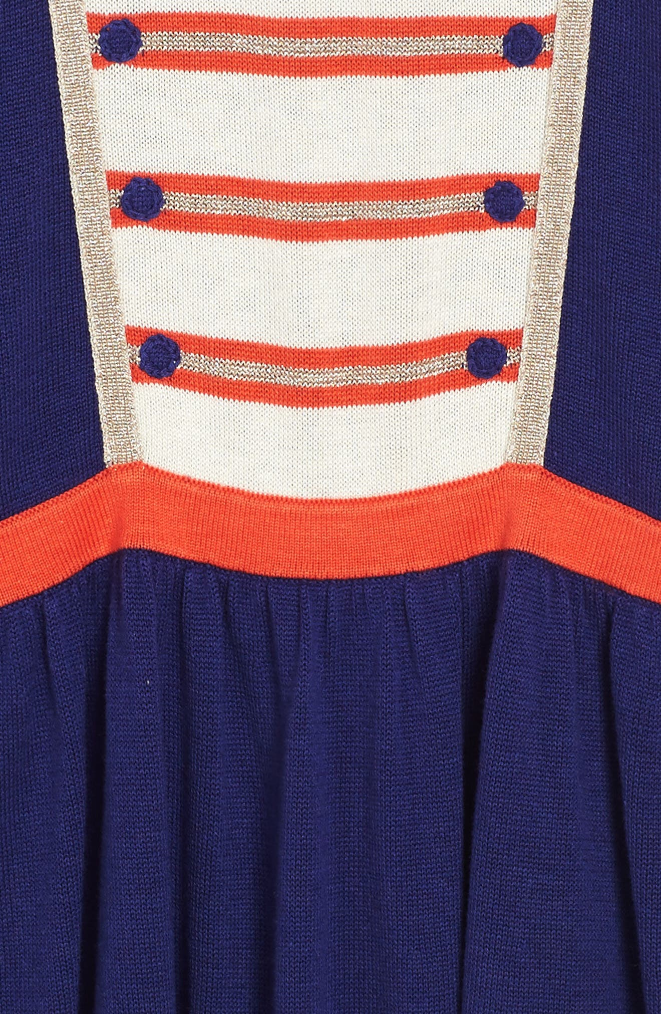 Sparkly Intarsia Knit Dress,                             Alternate thumbnail 3, color,                             Dark Blue