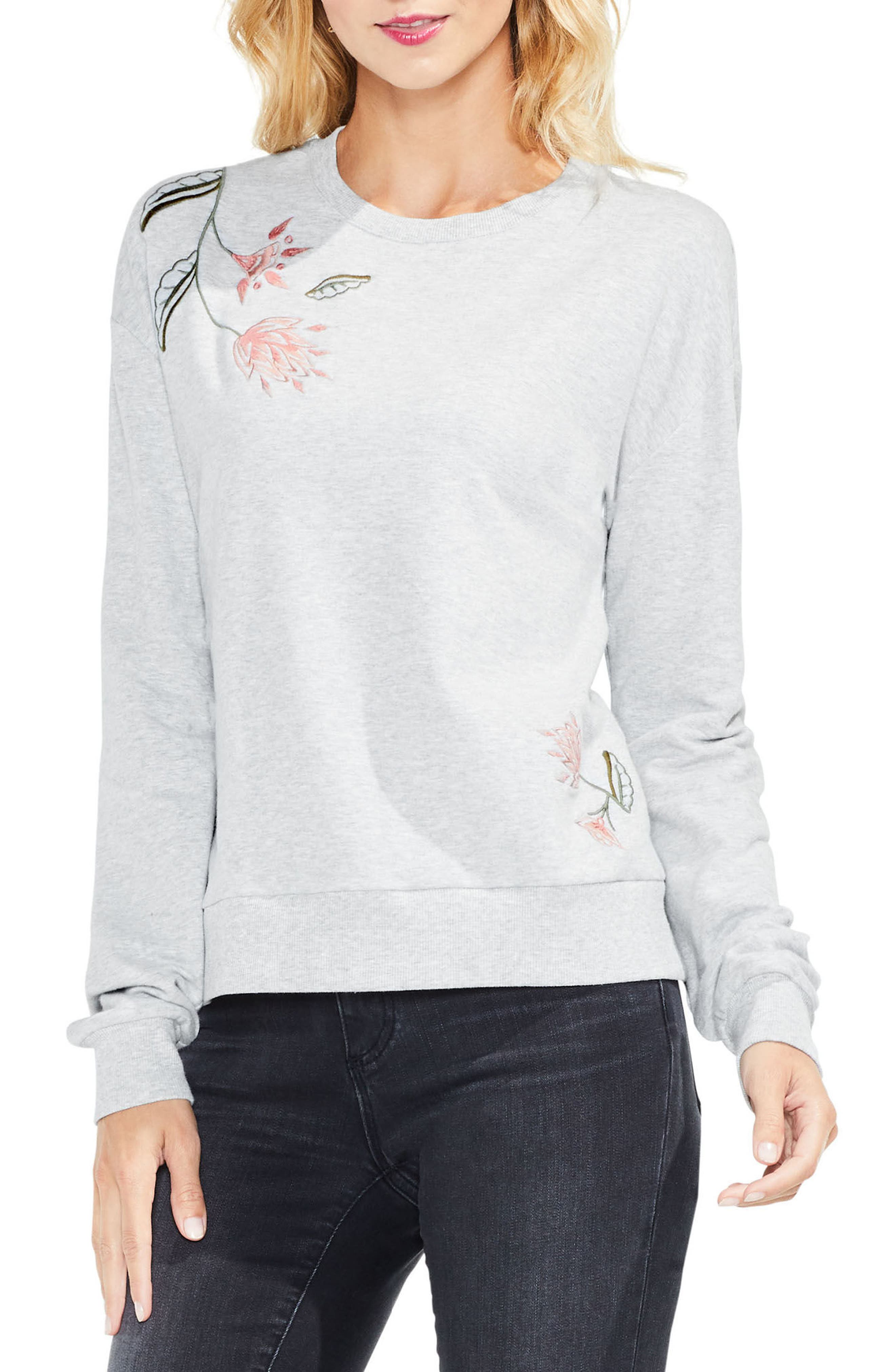 Embroidered French Terry Top,                         Main,                         color, Grey Heather