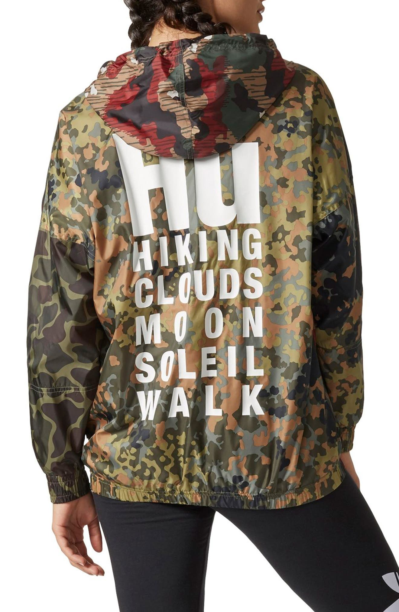 Originals by Pharrell Williams HU Hiking Camo Logo Windbreaker,                             Alternate thumbnail 2, color,                             Camo Clash