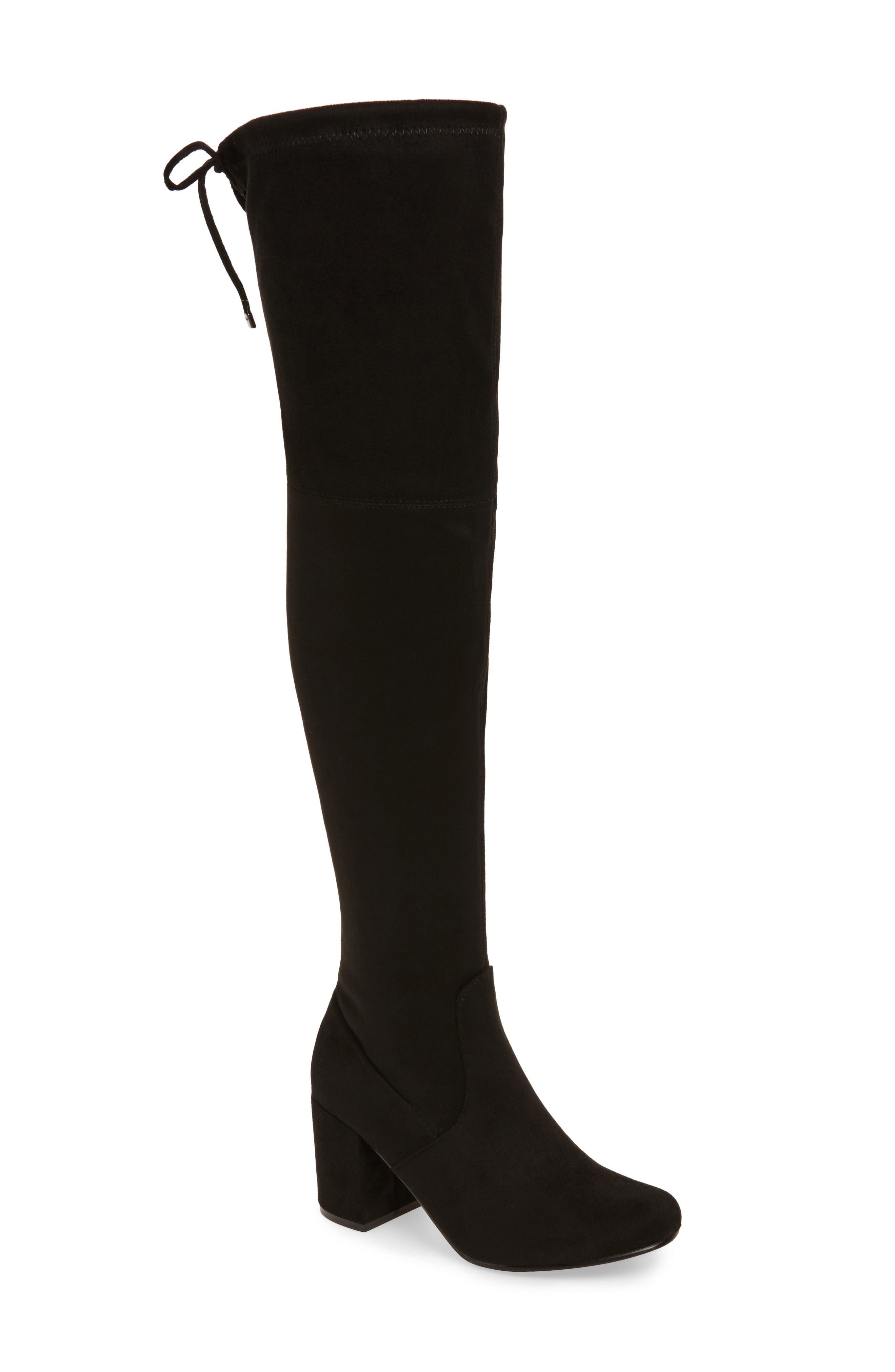 Heartbeat Over the Knee Boot,                             Main thumbnail 1, color,                             Black