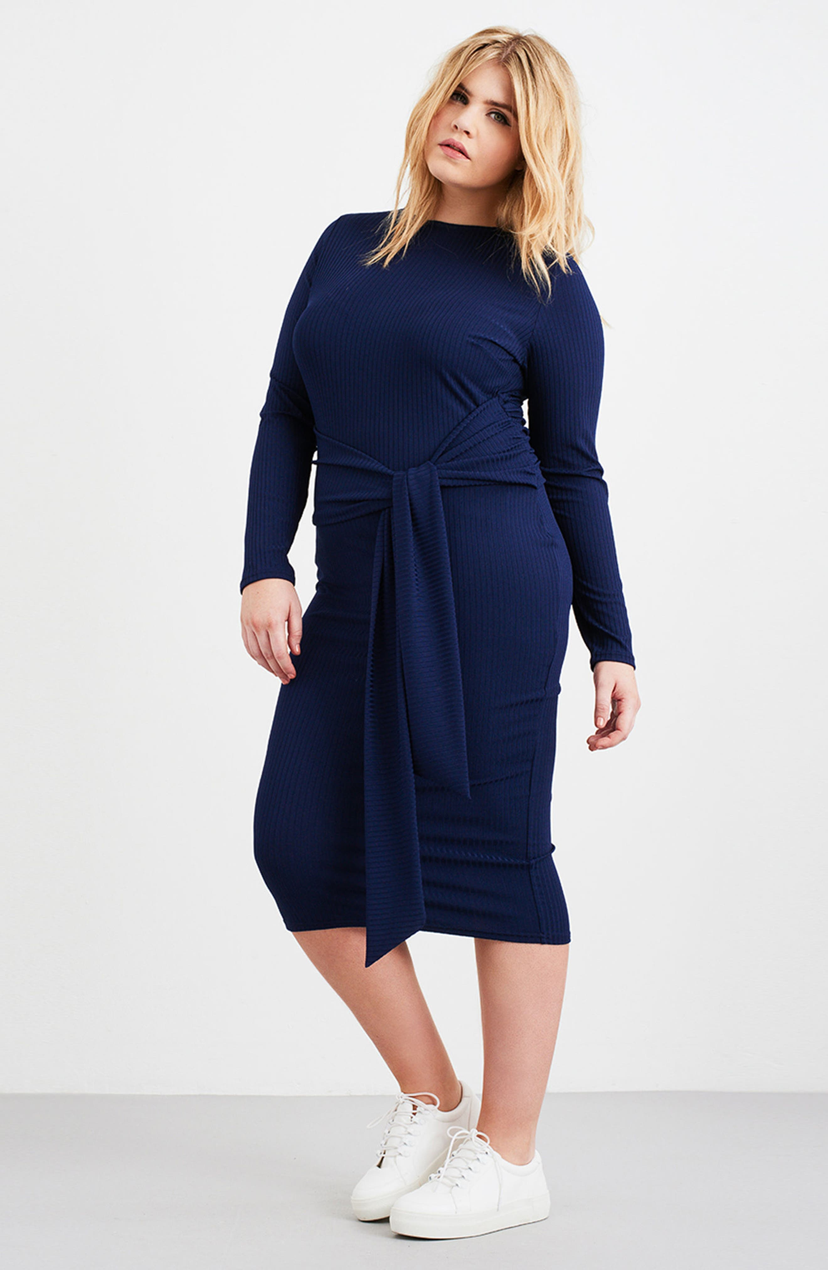 Tie Front Ribbed Sheath Dress,                             Alternate thumbnail 3, color,                             Navy