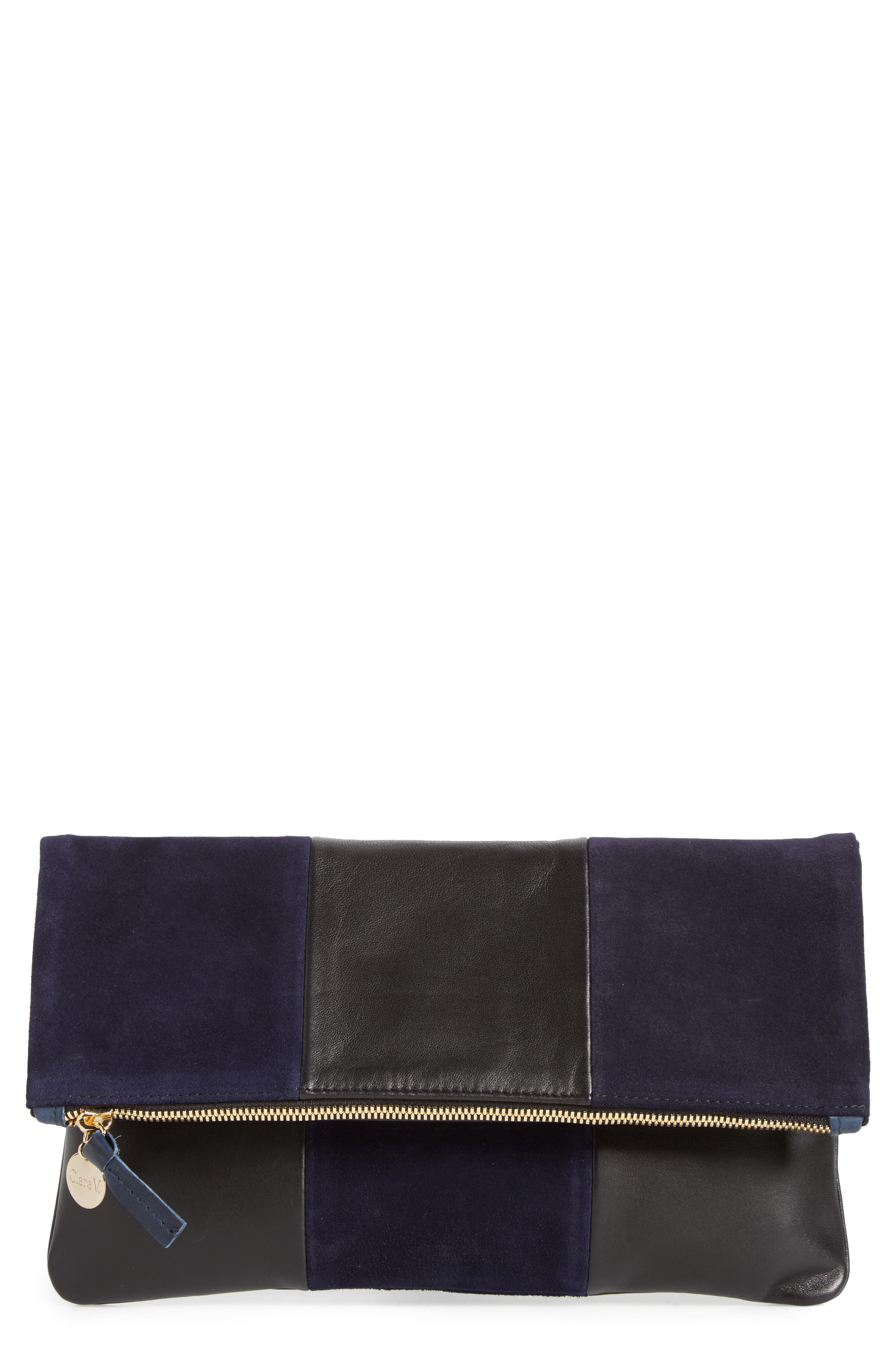 Leather & Suede Foldover Clutch,                         Main,                         color, Black Nappa/ Navy Suede