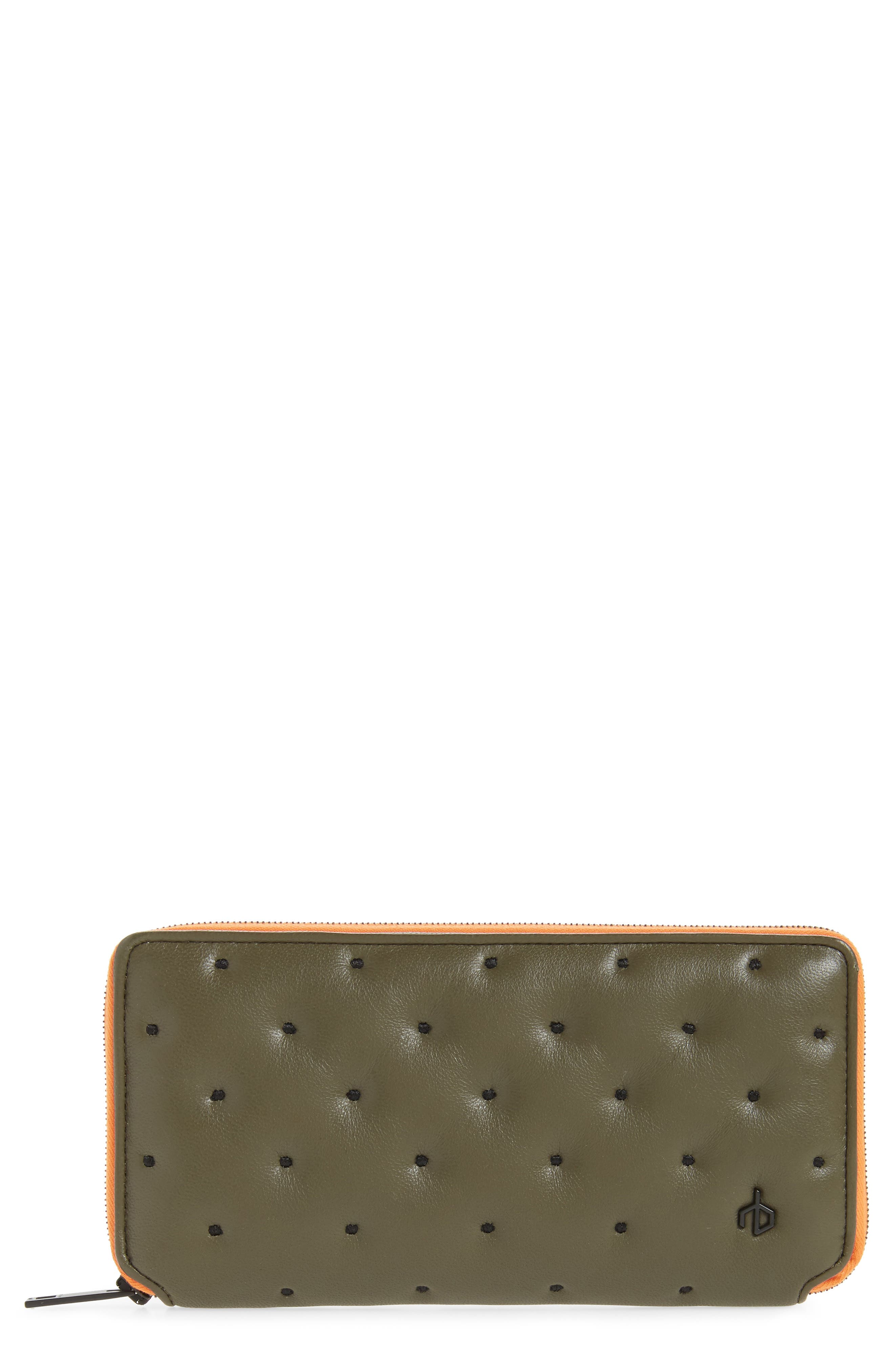 Dot Dash Quilted Leather Zip Around Wallet,                             Main thumbnail 1, color,                             Green Dot Dash Quilt