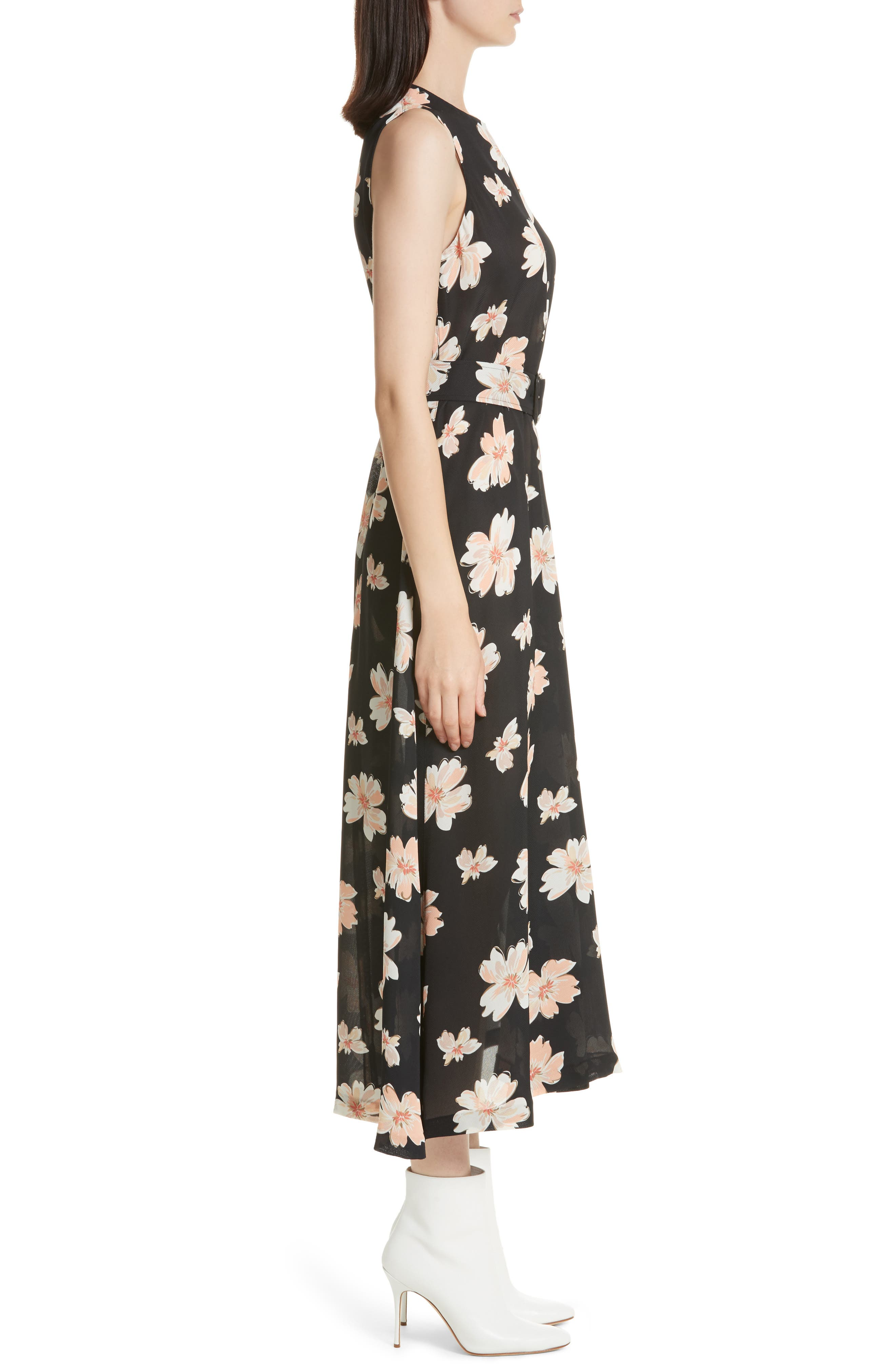 Arka Winterfloral Belted Midi Dress,                             Alternate thumbnail 3, color,                             Black Multi