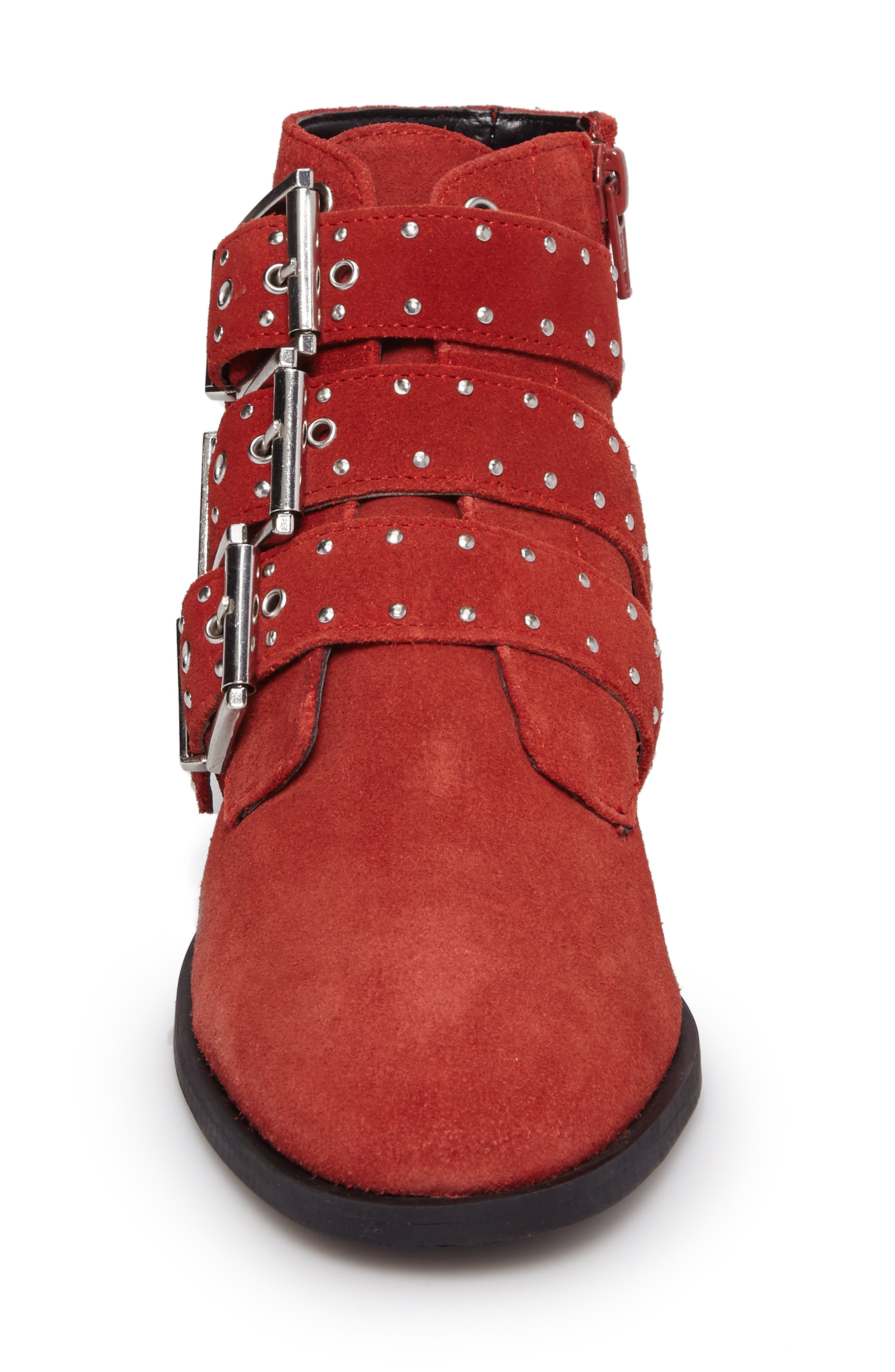 Krown Studded Bootie,                             Alternate thumbnail 4, color,                             Red