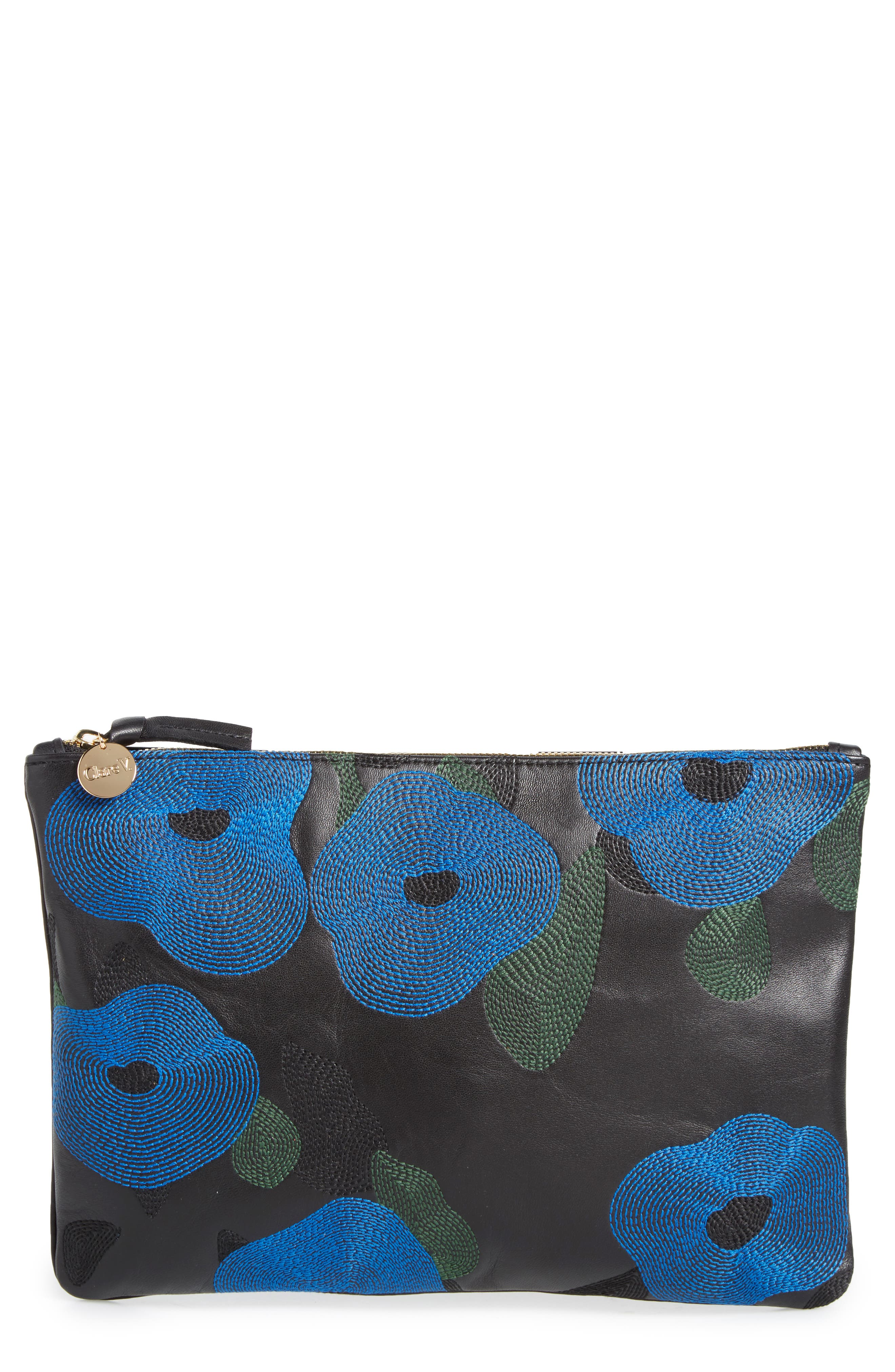 Clare V. Belle Embroidered Leather Flat Clutch