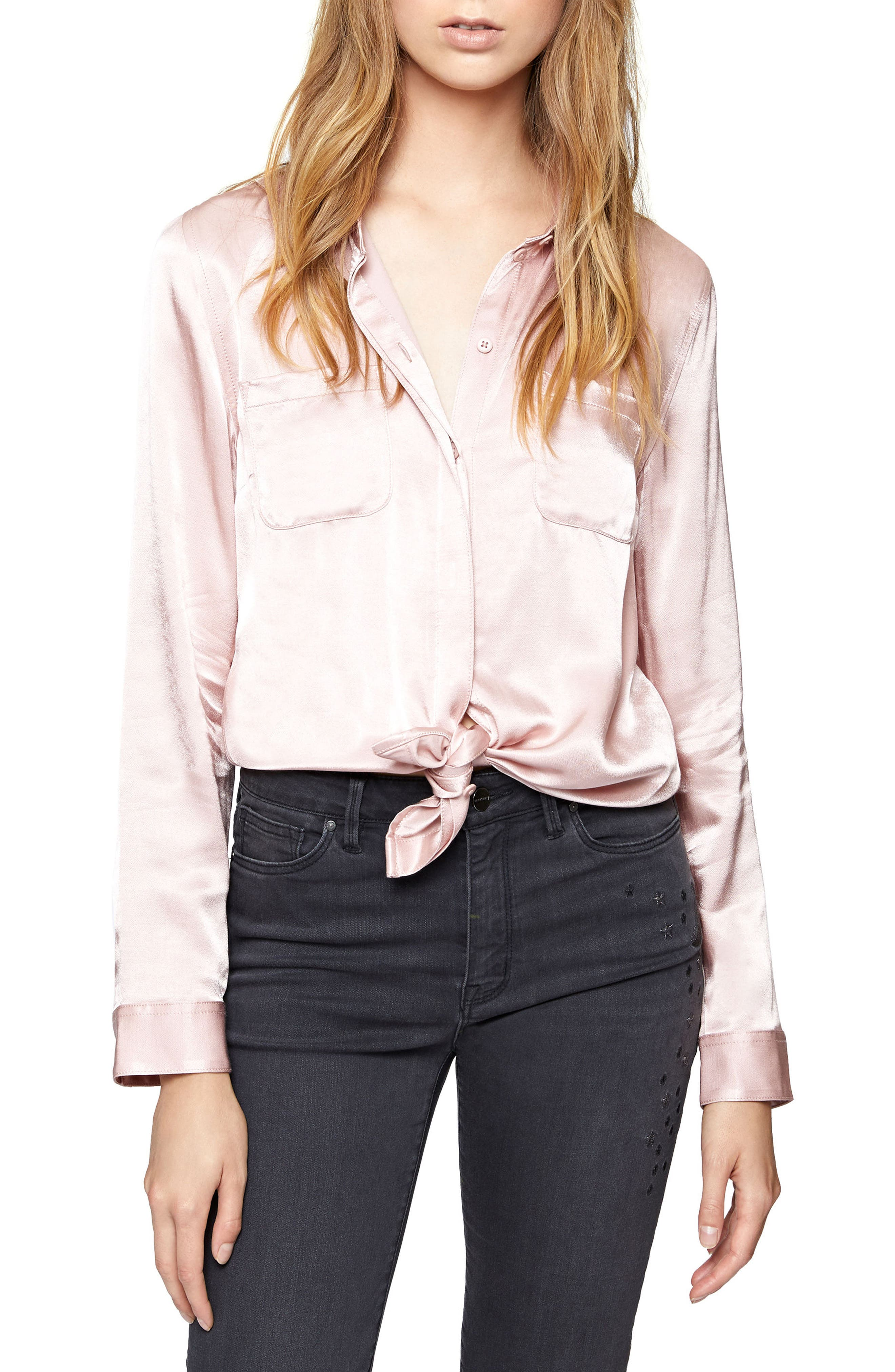 Dreamer Tie Front Shirt,                             Main thumbnail 1, color,                             Celestial Pink