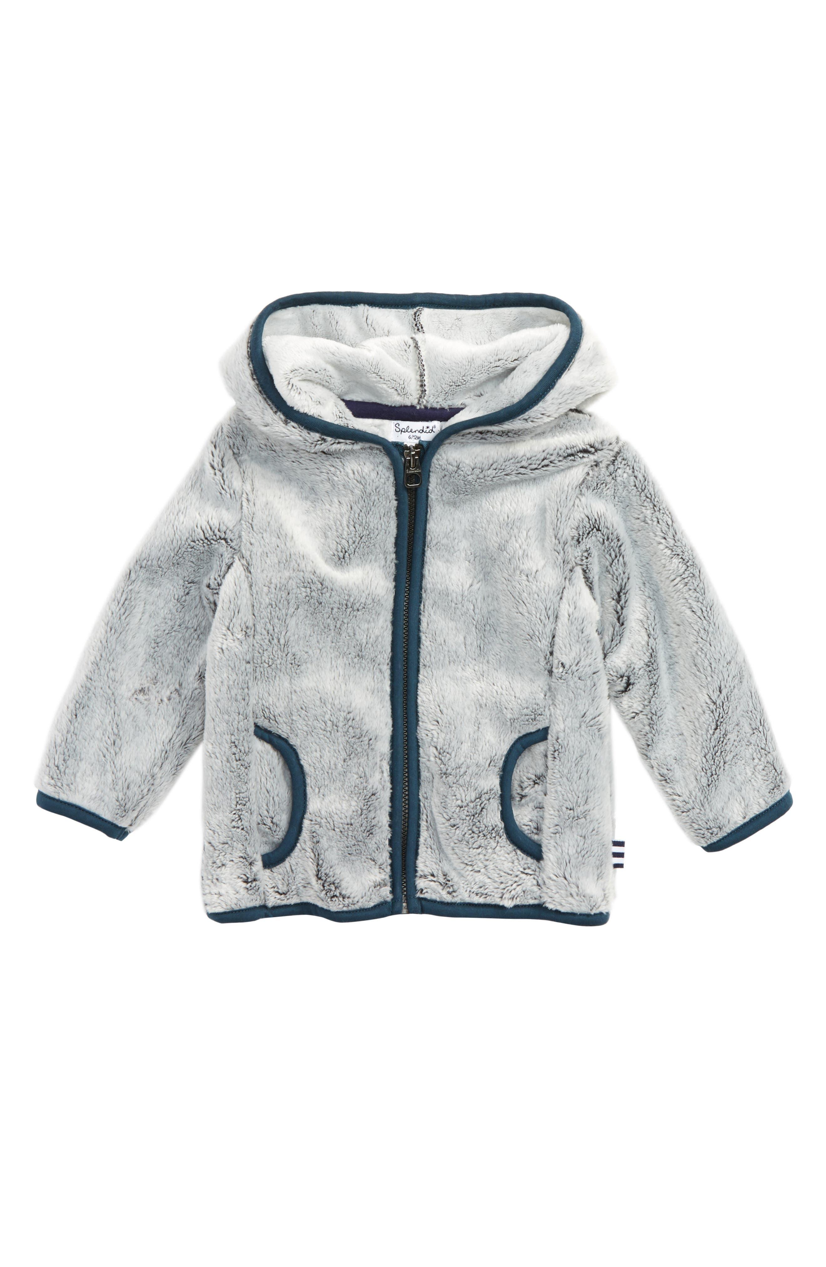 Hooded Fleece Jacket,                         Main,                         color, Grey Heather