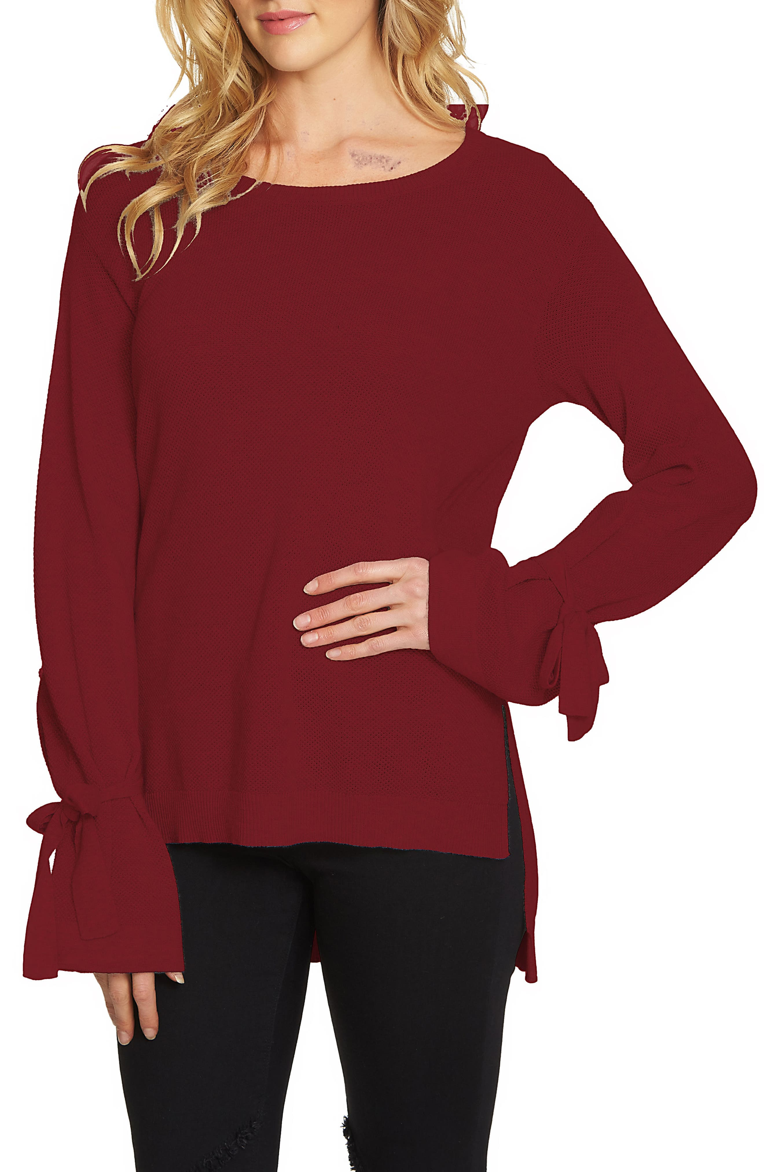 Tied Bell Sleeve Sweater,                         Main,                         color, Deep Claret