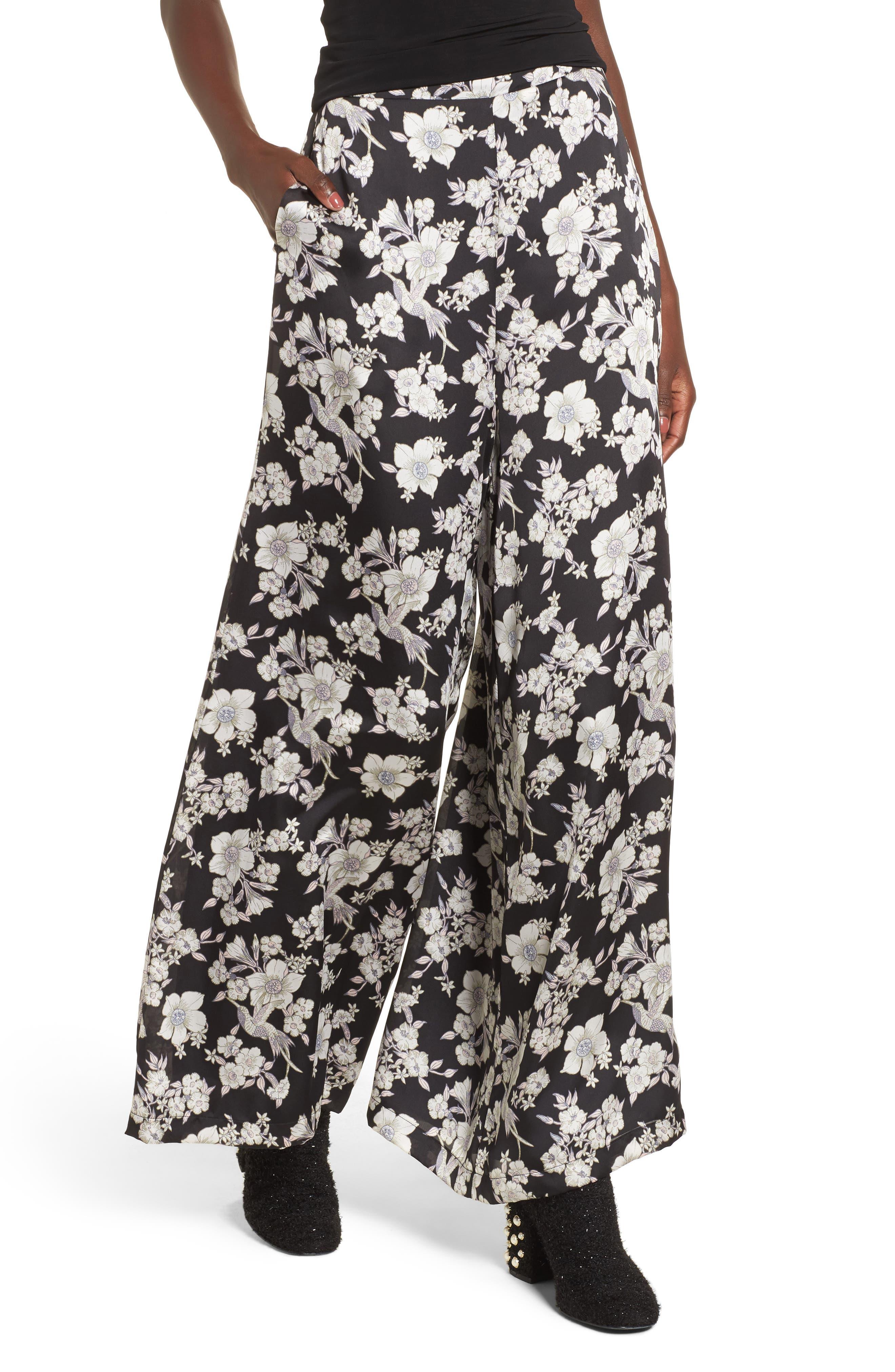 Birdee Wide Leg Pants,                         Main,                         color, Black Floral
