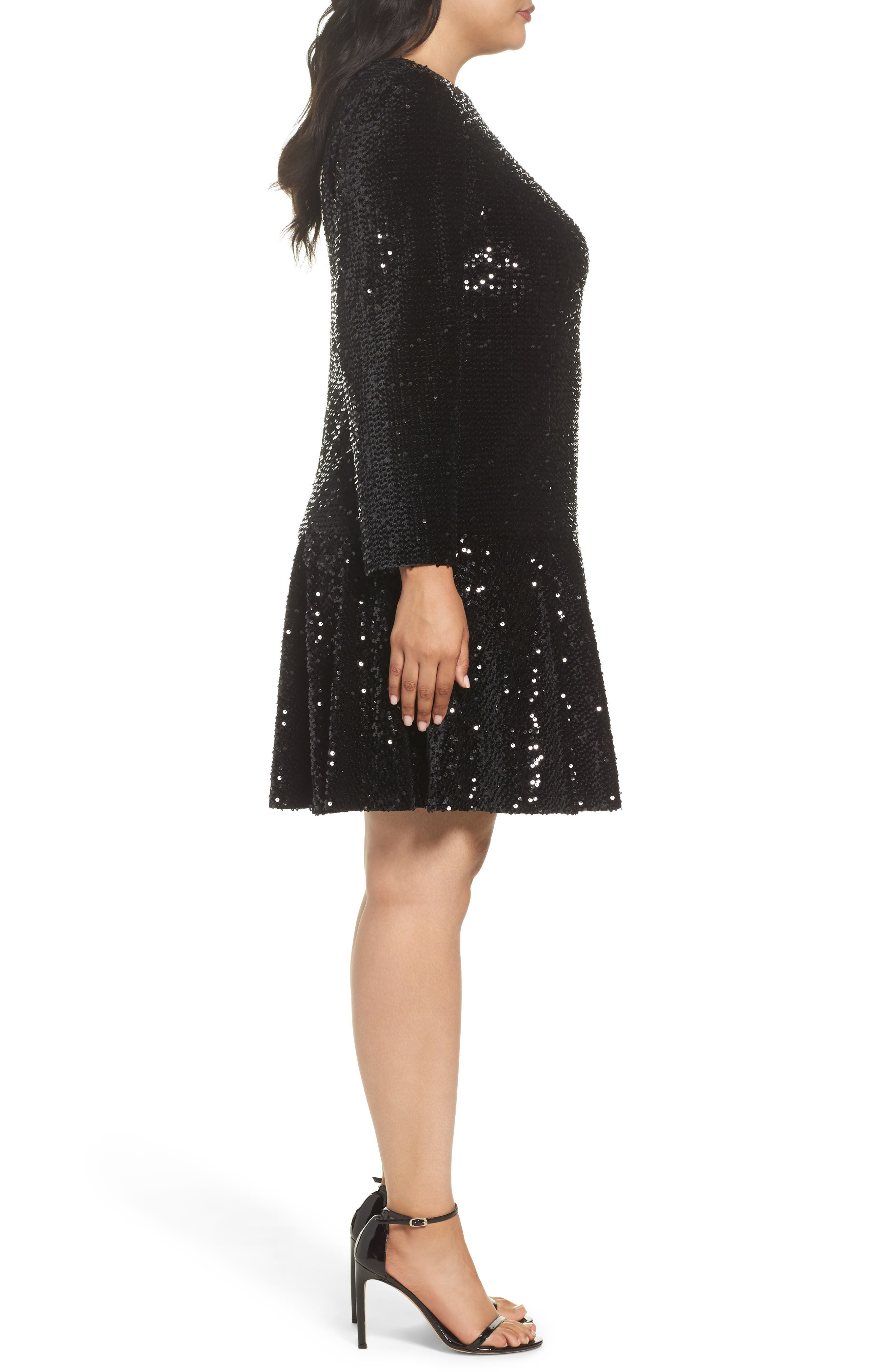 Alternate Image 3  - Eliza J Sequin Drop Waist Dress (Plus Size)