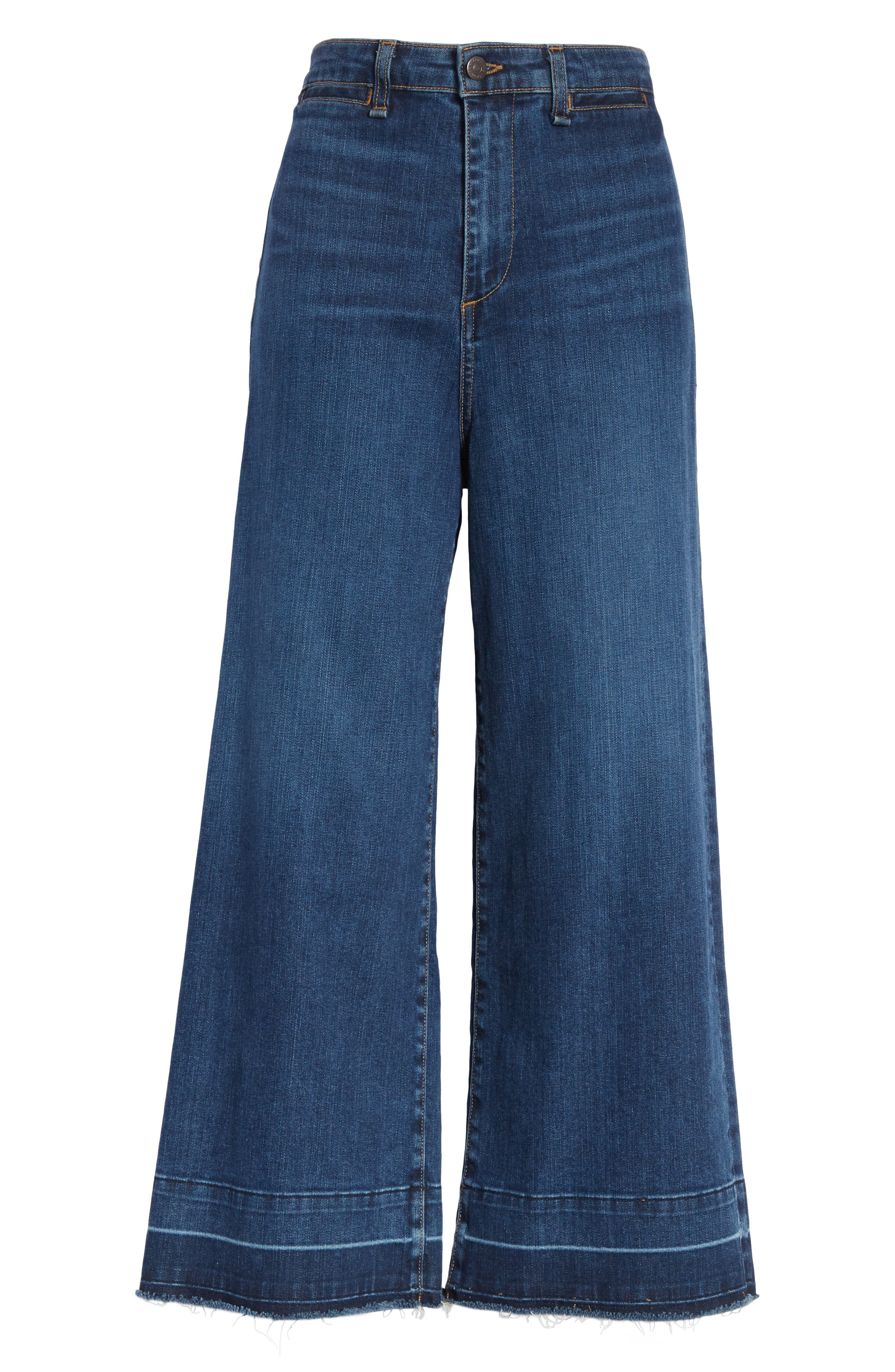 Ali High Waist Gaucho Jeans,                             Alternate thumbnail 6, color,                             Vintage Wash