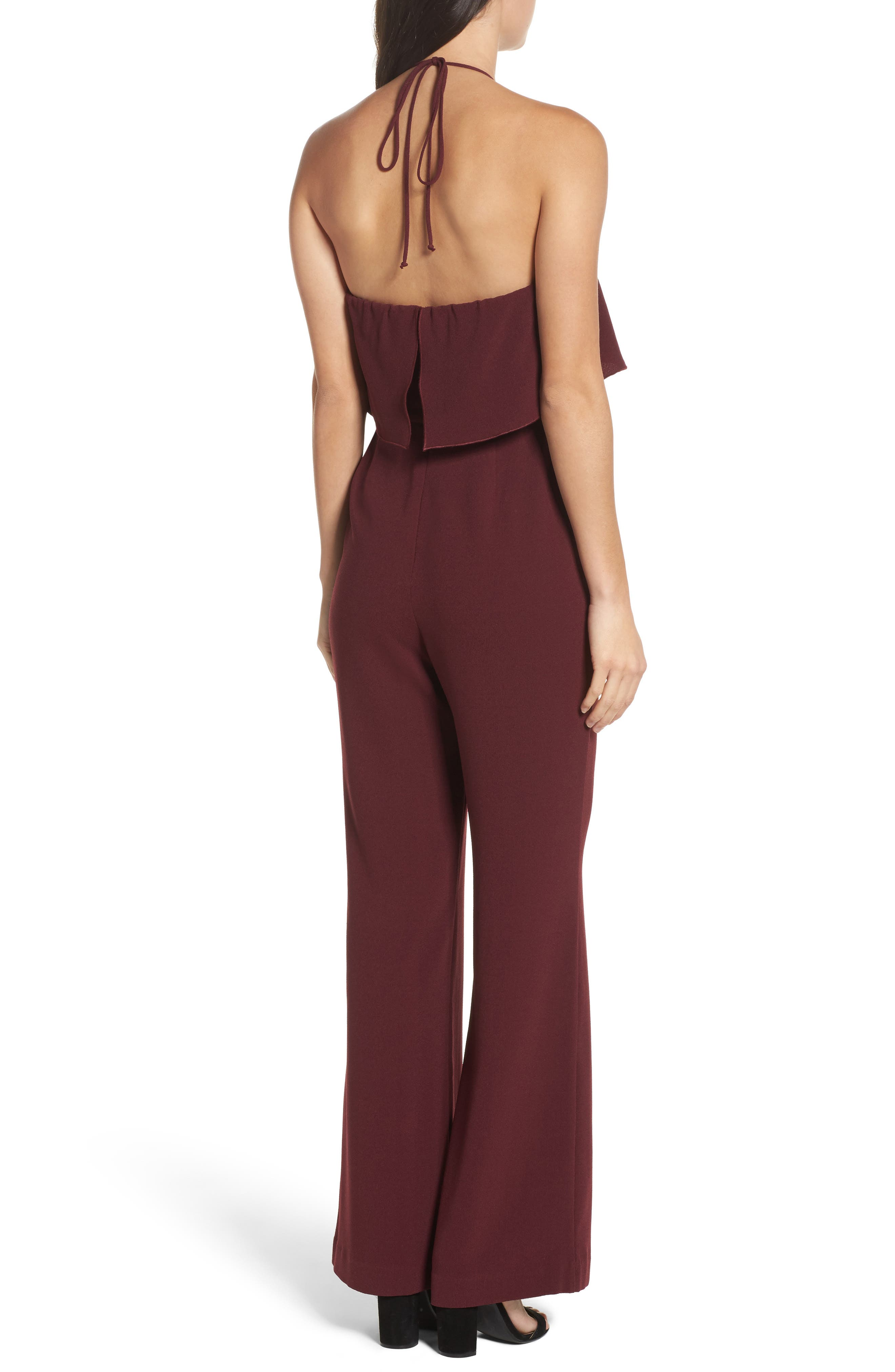 Ruffle Halter Jumpsuit,                             Alternate thumbnail 2, color,                             Raisin