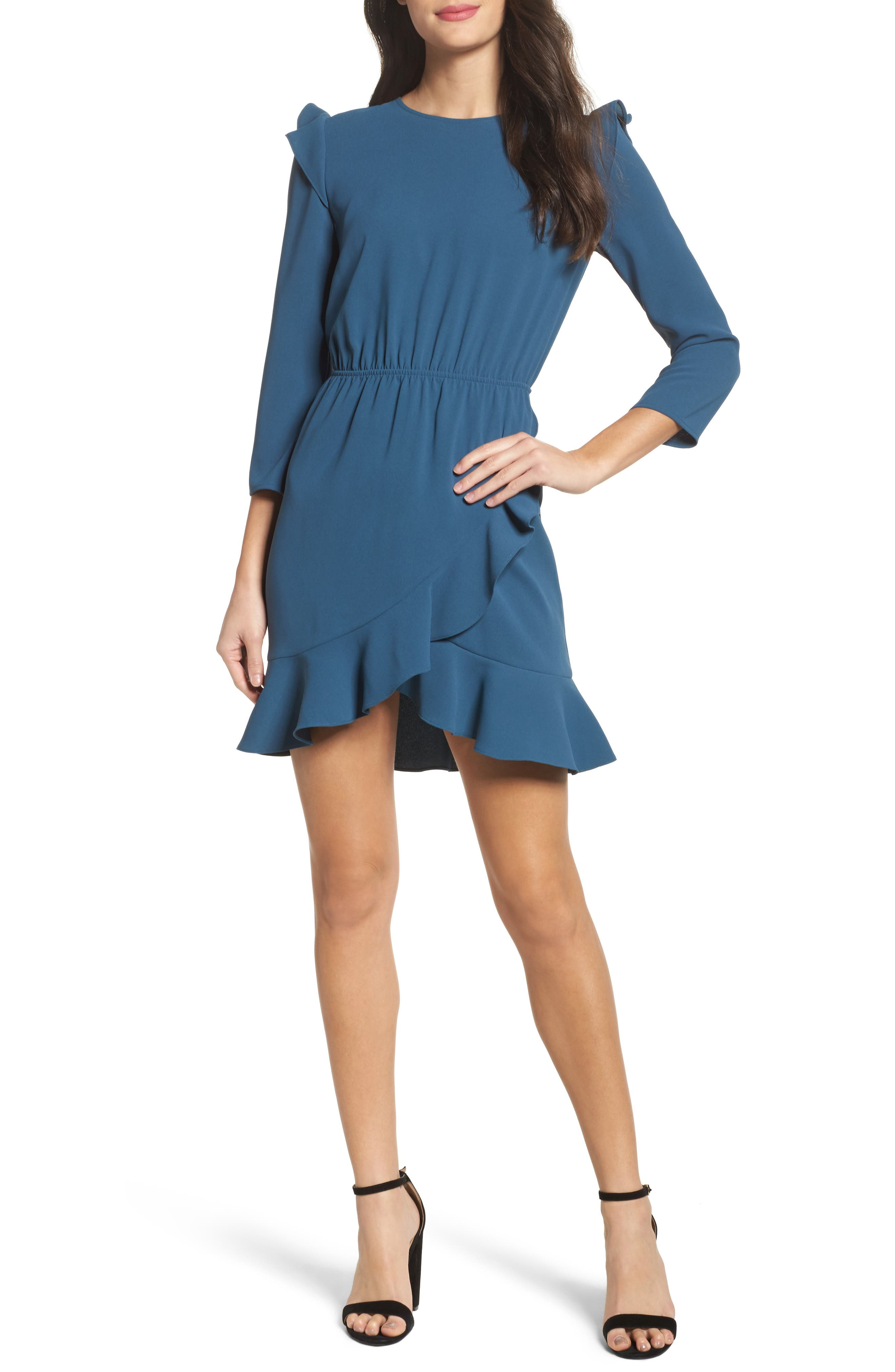 St Germain Ruffle Fit & Flare Dress,                         Main,                         color, Spruce