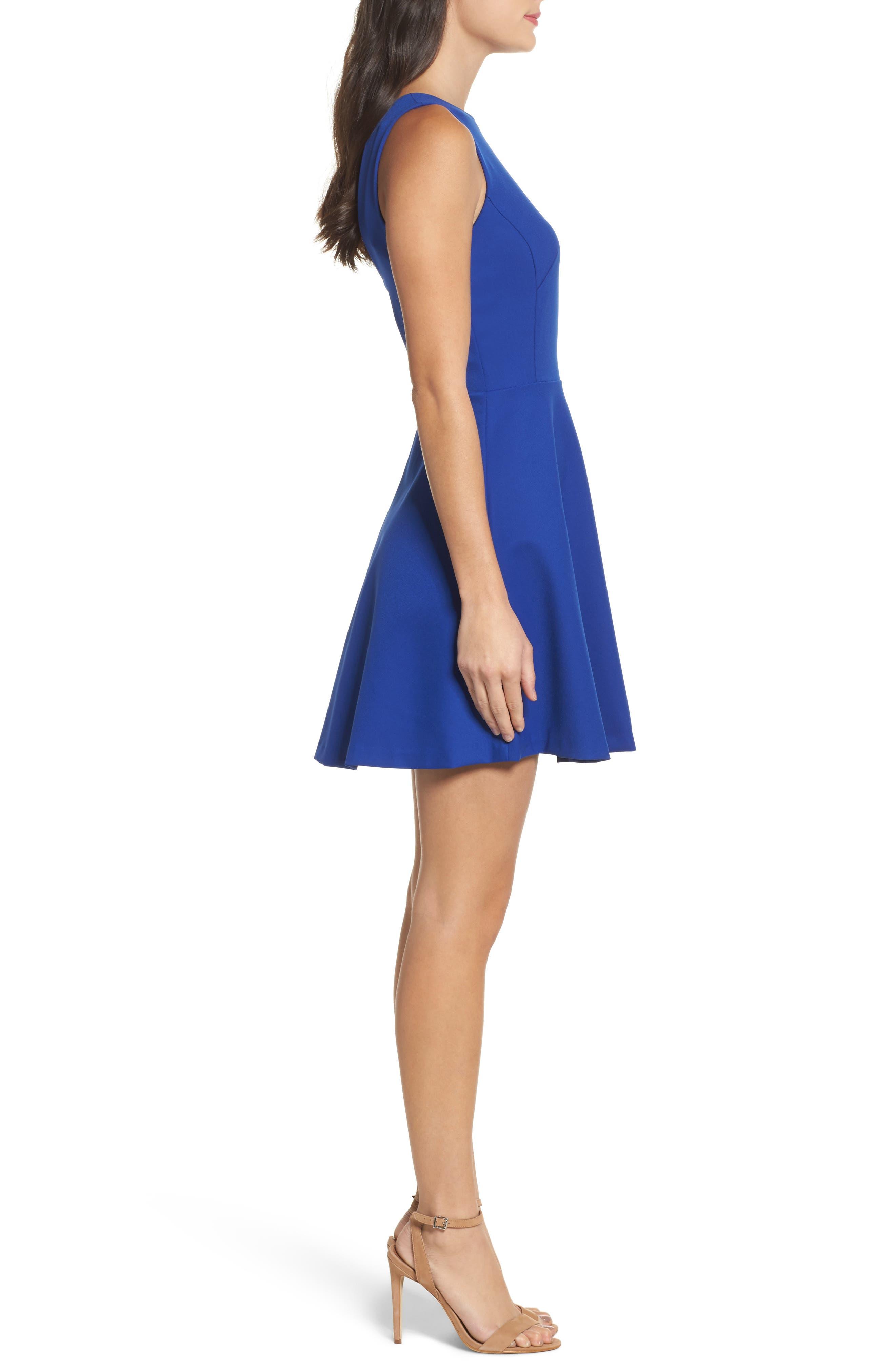 Barbara Fit & Flare Dress,                             Alternate thumbnail 3, color,                             Cobalt